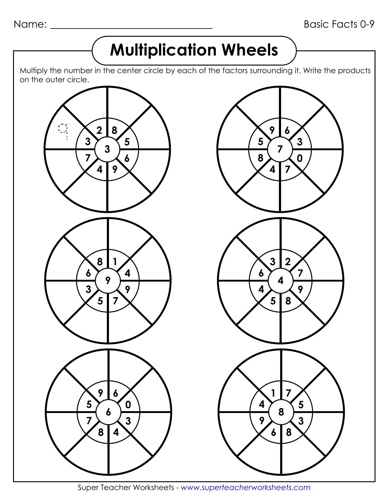 Multiplication Wheels - Super Teacher Worksheets | manualzz.com