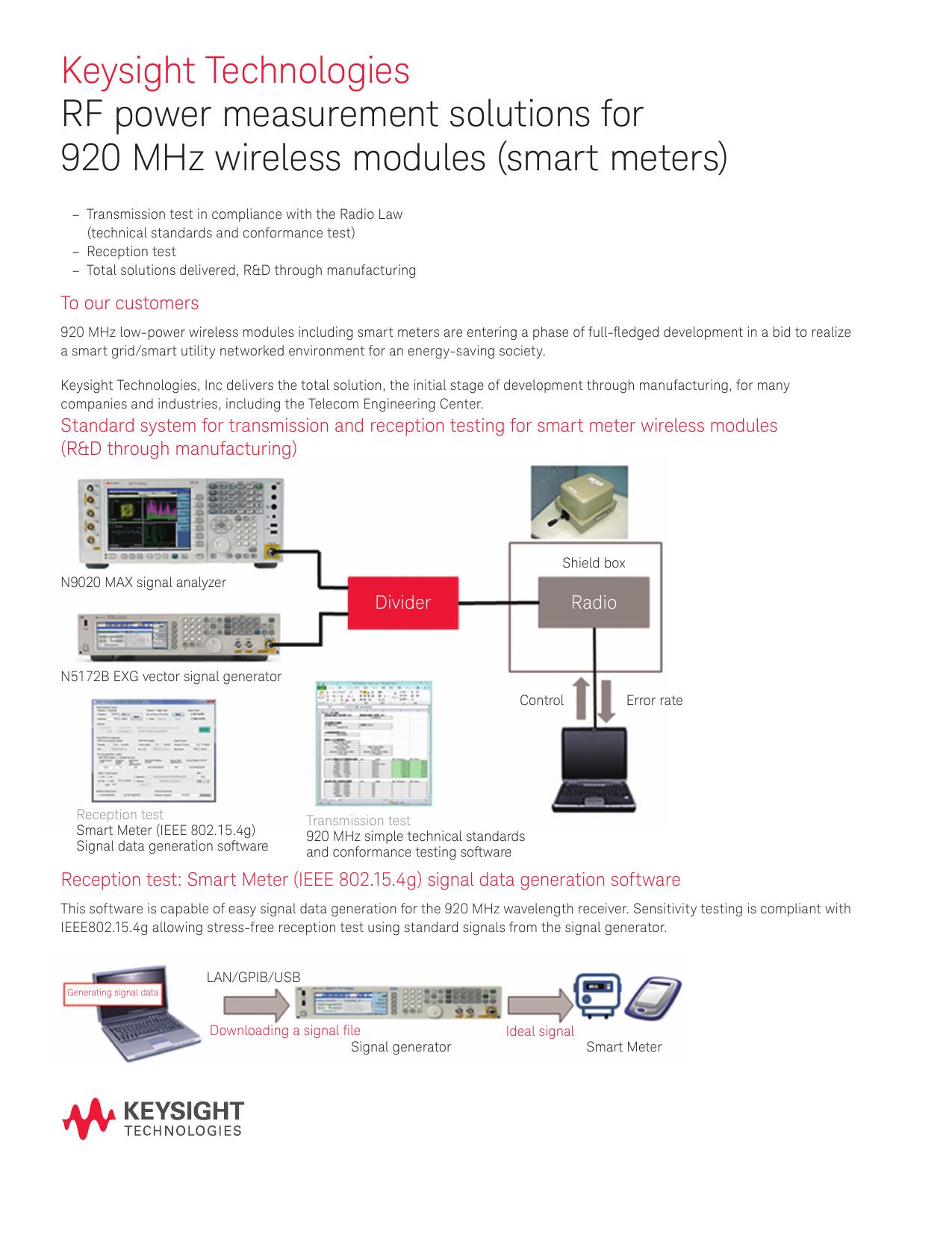 Keysight Technologies RF power measurement solutions for 920