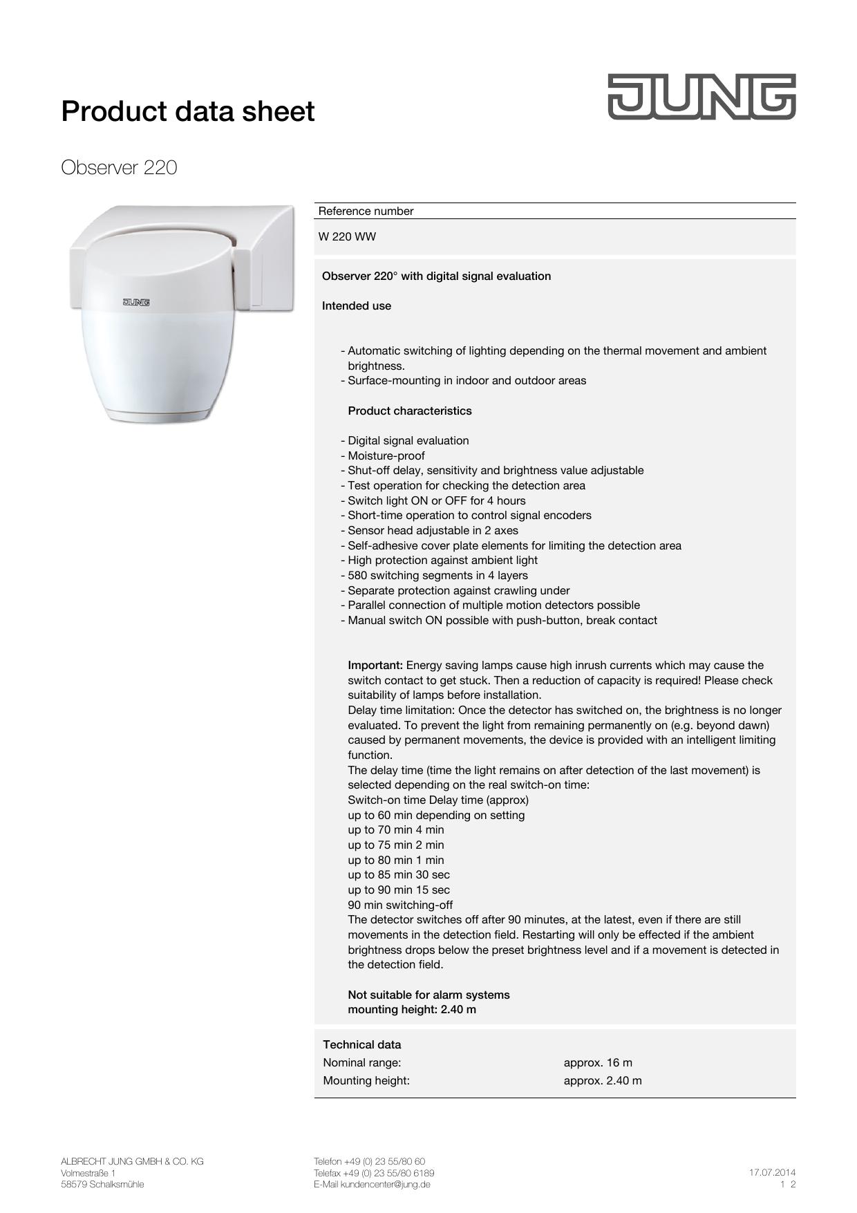 Jung Product Data Sheet Manualzz Com
