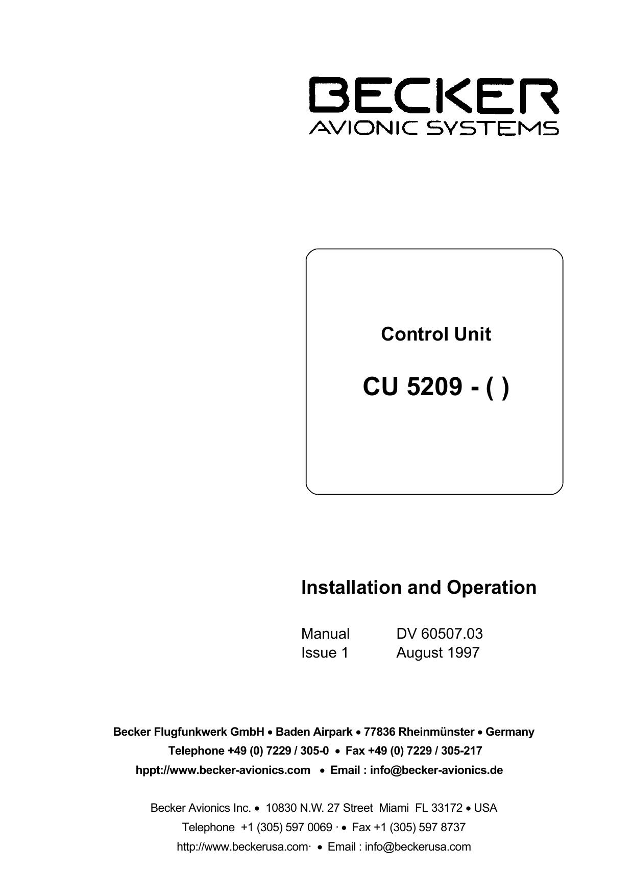 CU 5209 - Becker Avionics | manualzz com