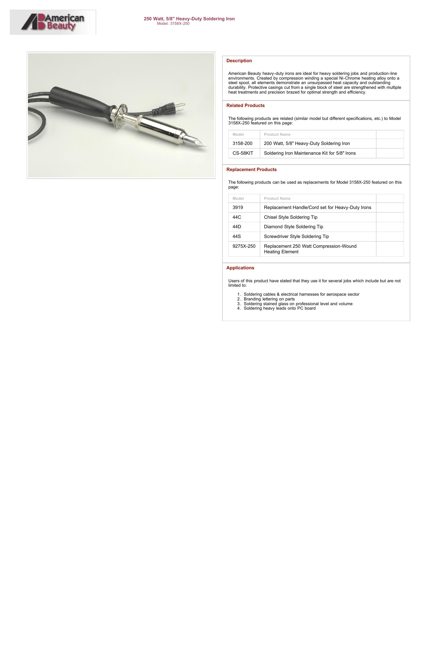 American Beauty 3158X-250 Heavy-Duty Soldering Iron 250 Watt 14 Length 5//8 Diamond Tip