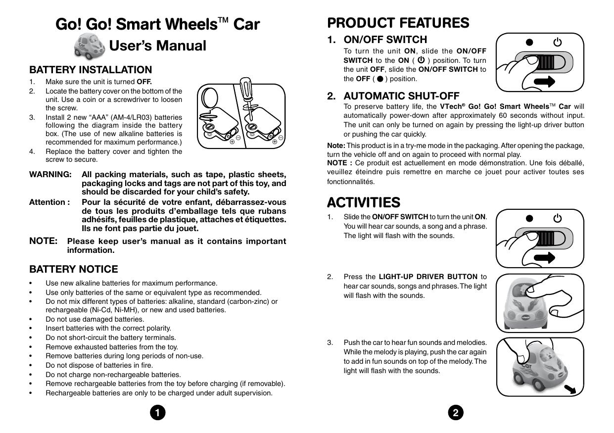 Go! Go! Smart Wheels™ Car   manualzz.com Aaa Battery Box Wiring Diagram on