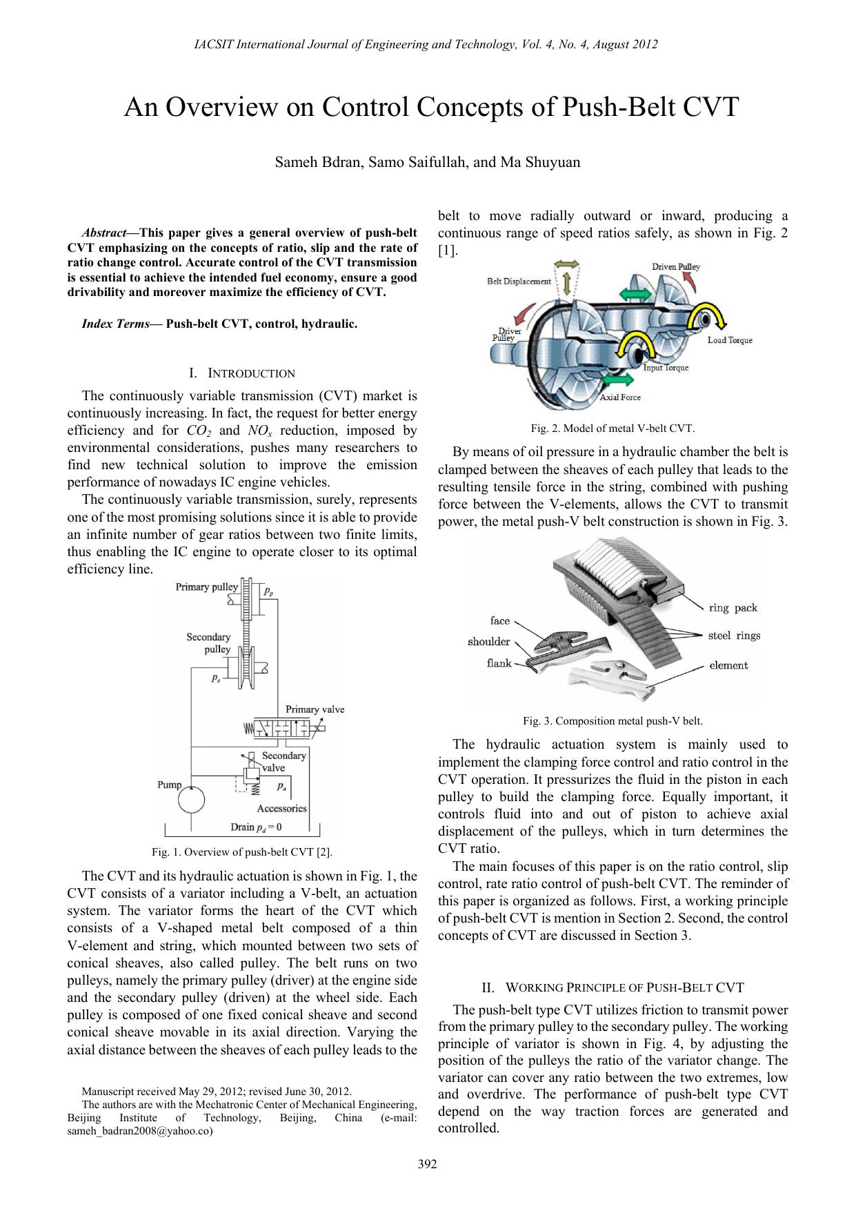 An Overview on Control Concepts of Push-Belt CVT | manualzz com