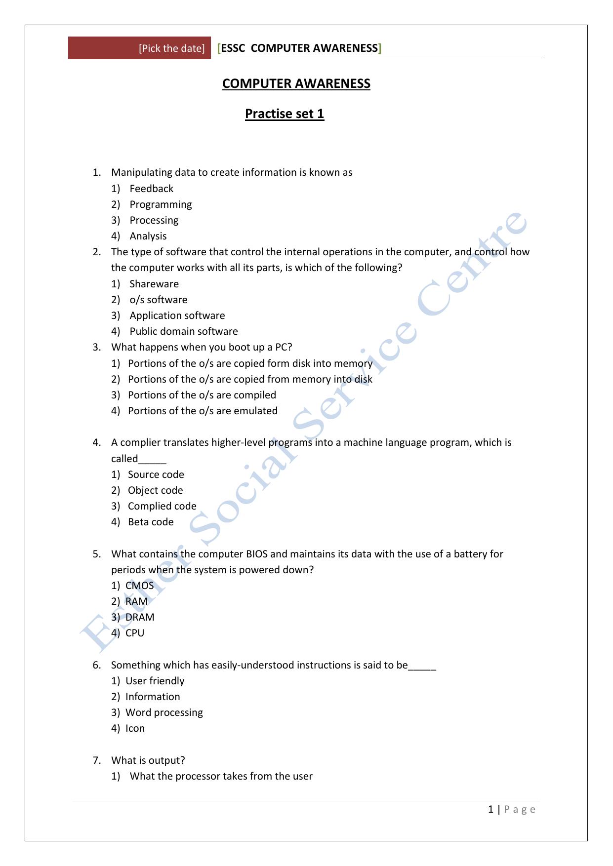 Essc Computer Awareness 62 Adder Block Diagram The Abbreviation Fa Stands For Fulladder