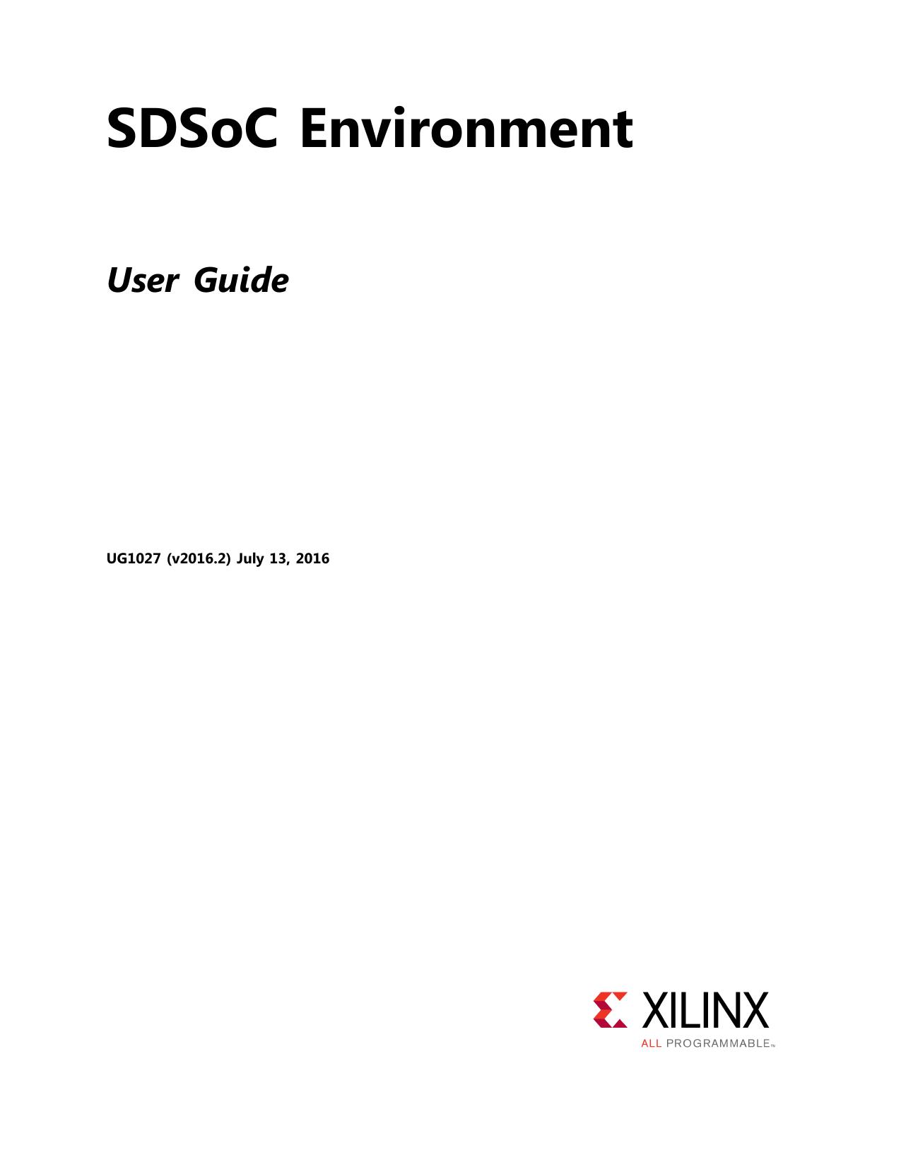 SDSoC Environment User Guide (UG1027) | manualzz com