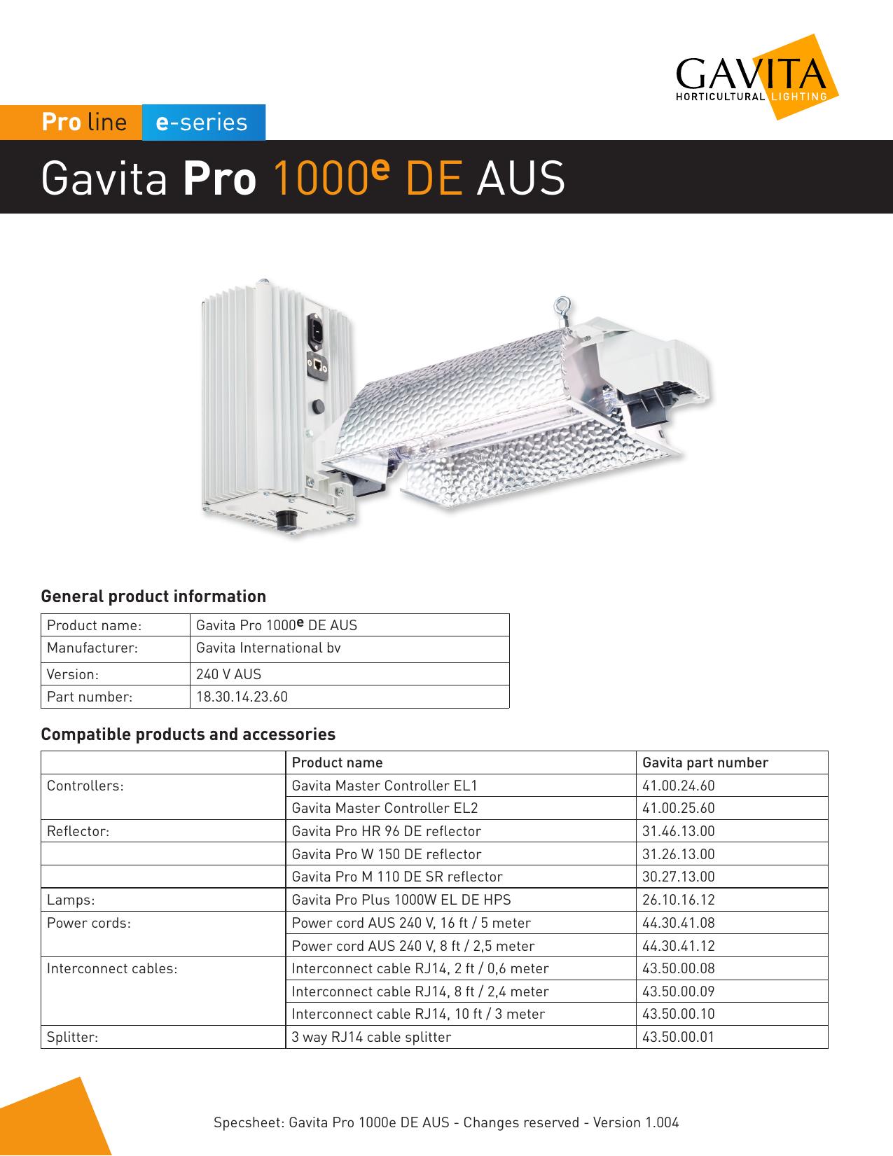 Gavita Pro 1000 DE AUS   manualzz com