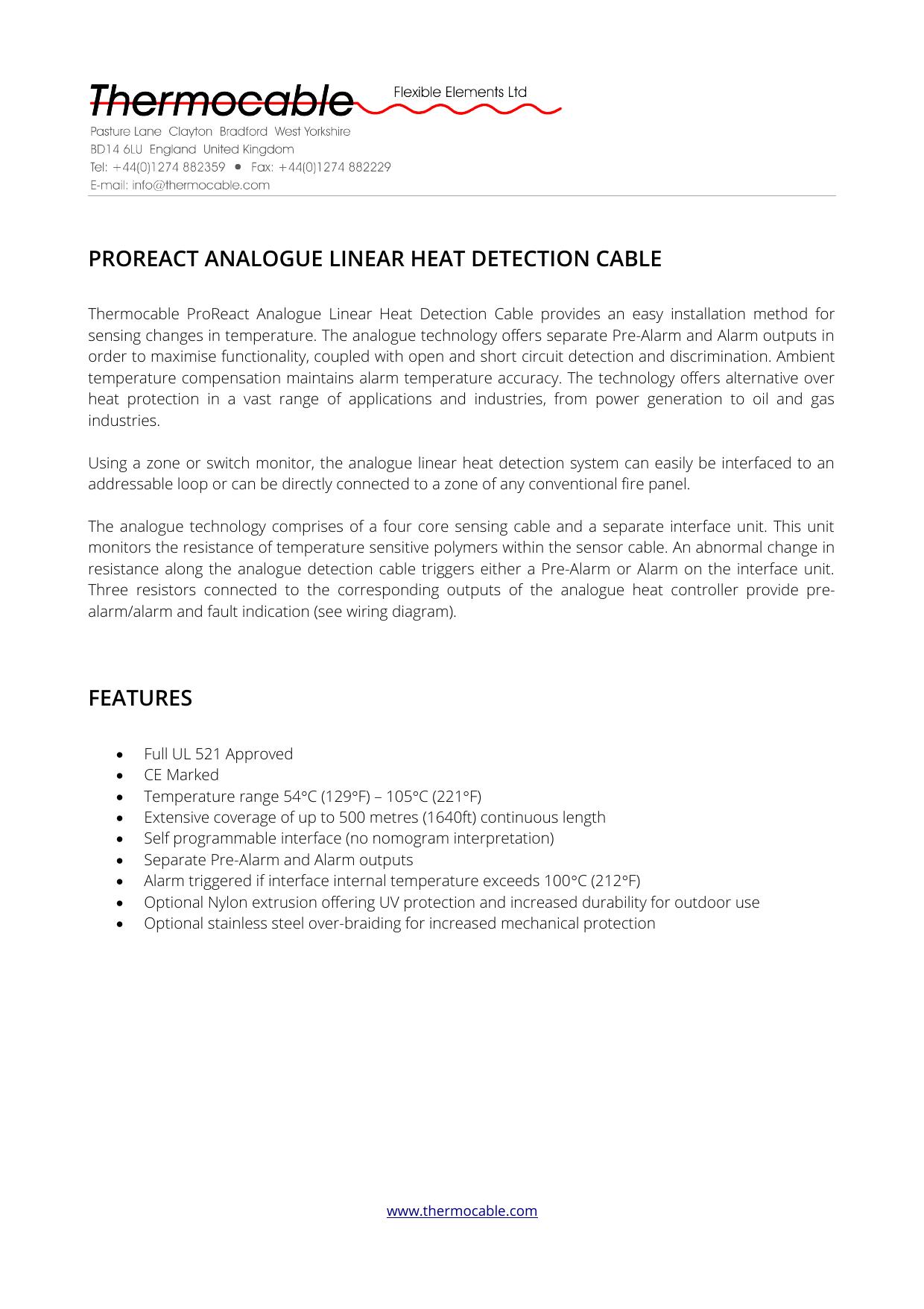 ProReact Analogue Linear Heat Detection System Datasheet | manualzz.com