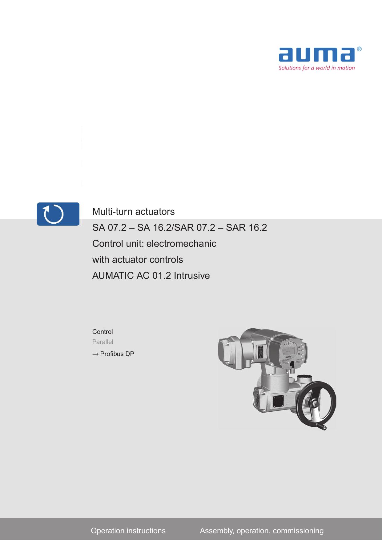 Multi-turn actuators SA 07.2 – SA 16.2/SAR 07.2 – SAR 16.2 Control on
