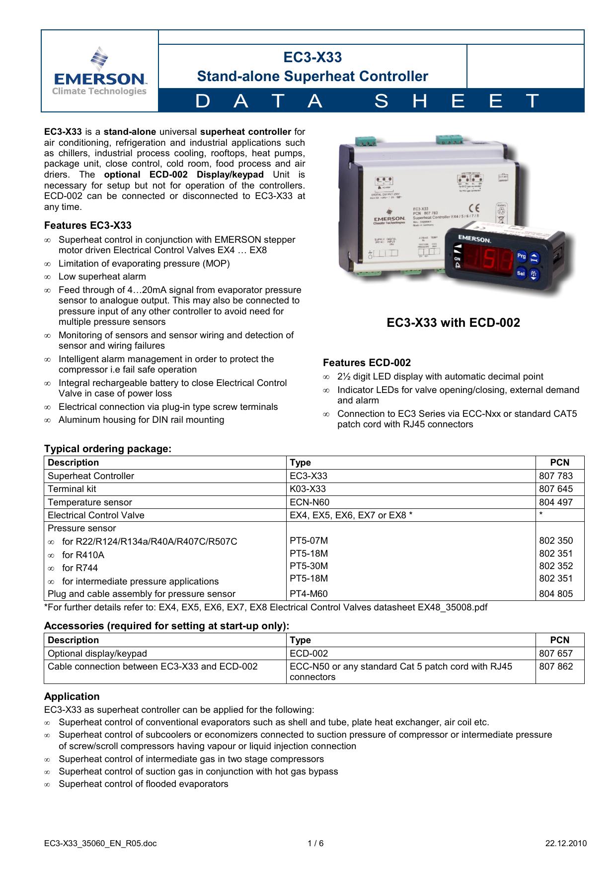 EC3-X33 - Emerson Climate Technologies   manualzz com