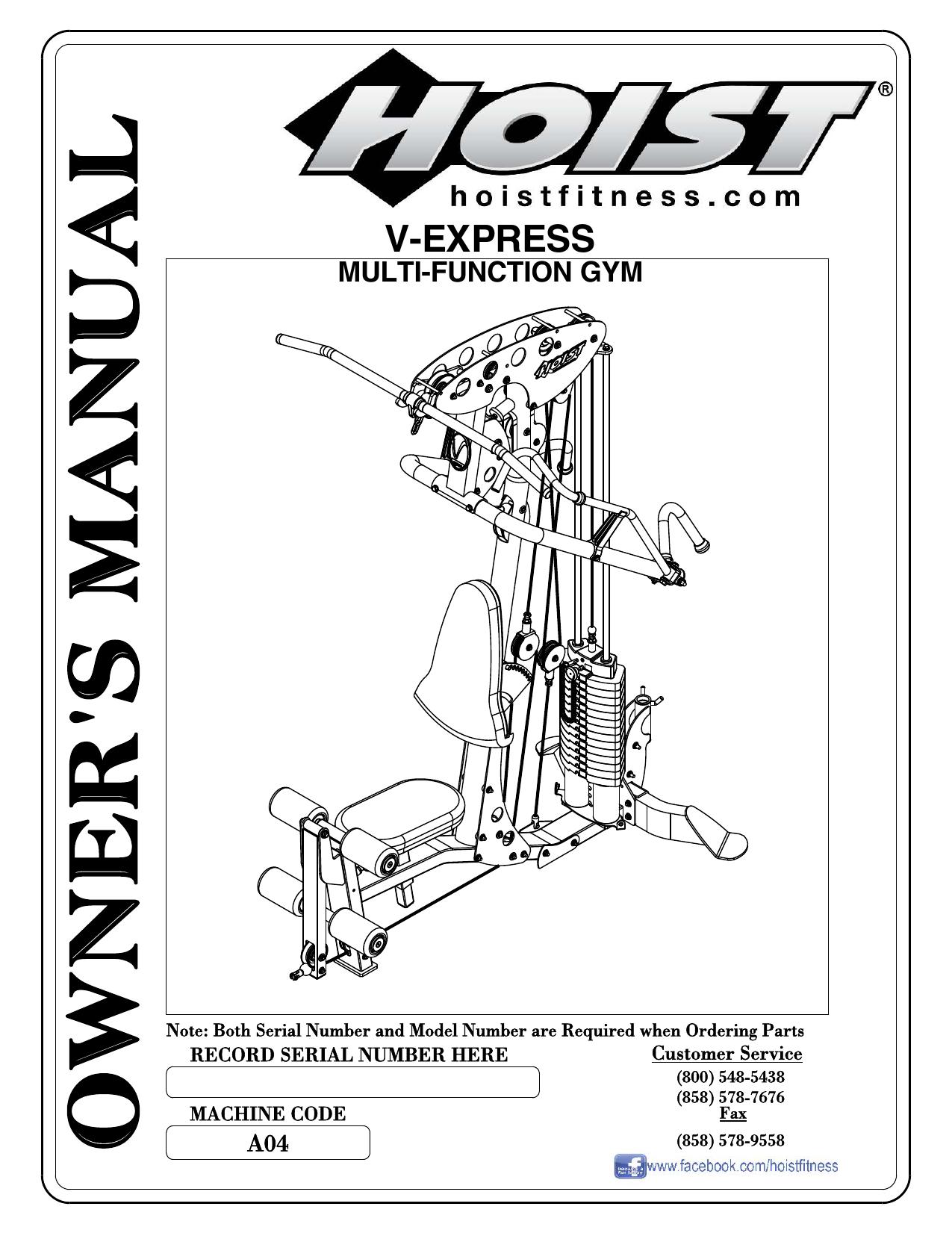 Hoist Fitness H310a Home Gym User Manual Manualzz