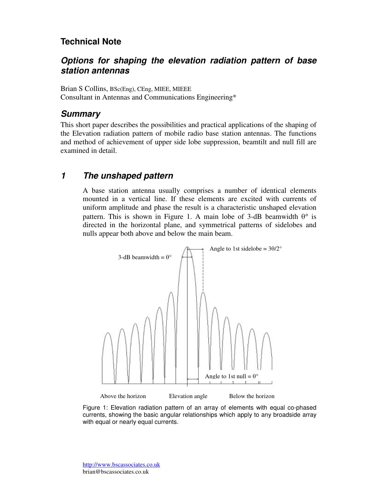 Shaping the elevation radiation pattern of base station antennas