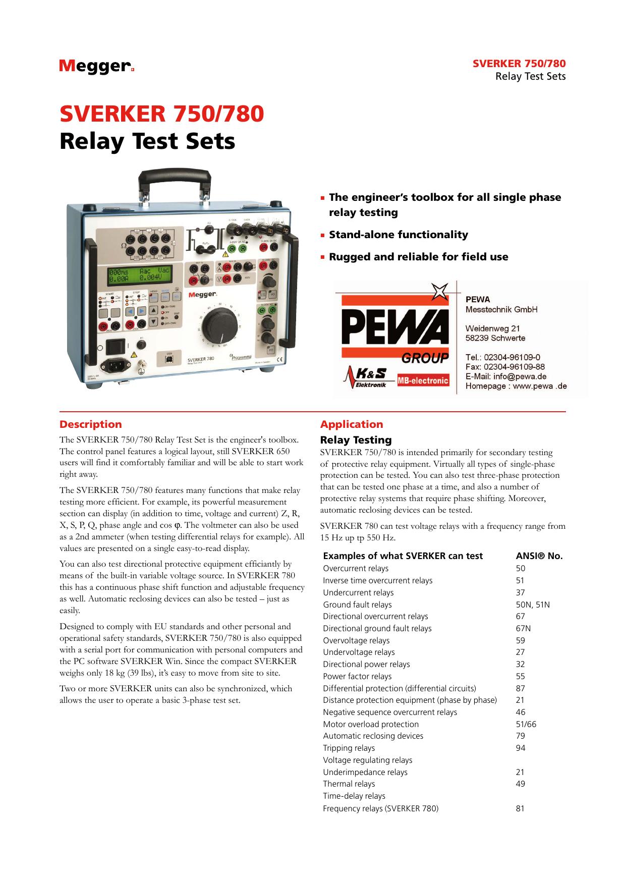 SVERKER 750/780 Relay Test Sets | manualzz com