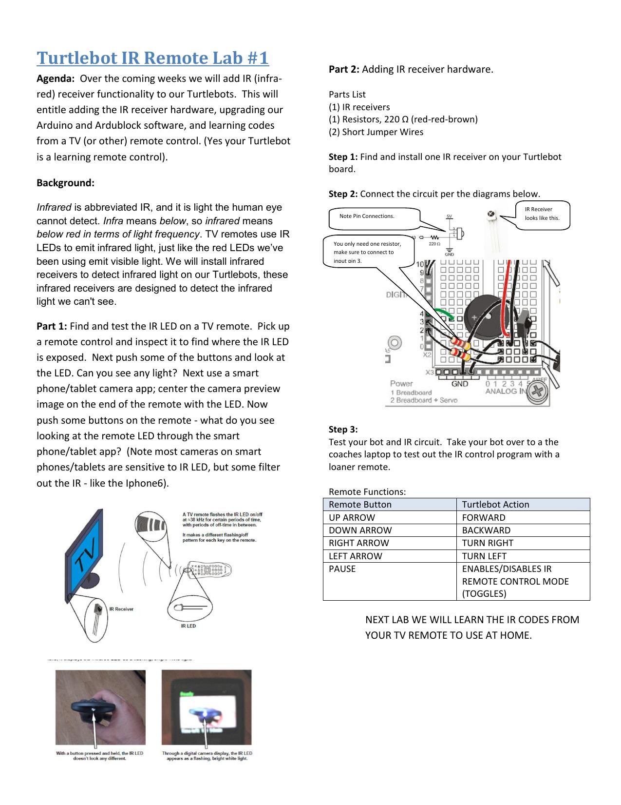 Turtlebot Ir Remote Lab 1 38khz Led Circuit