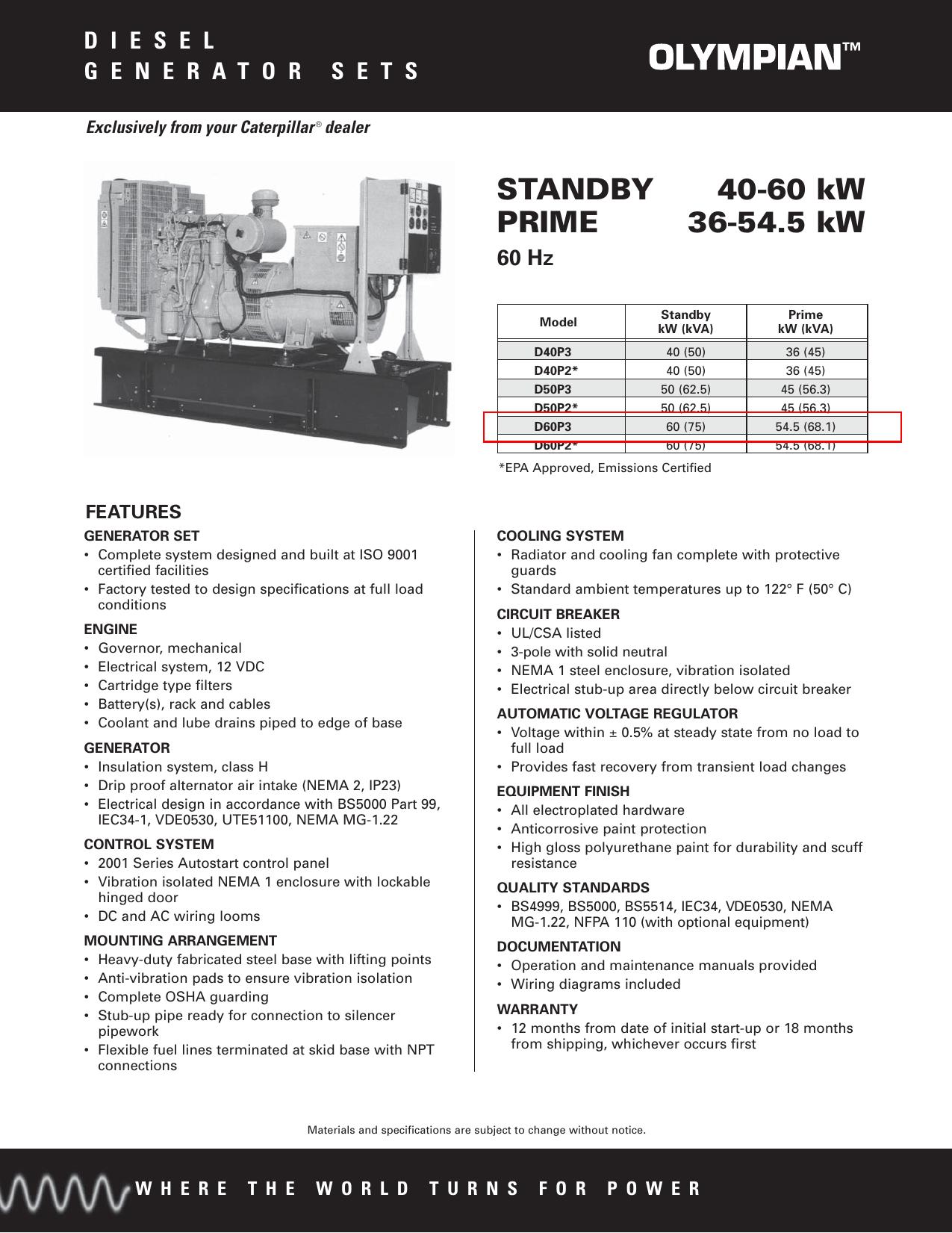 STANDBY 40-60 kW PRIME 36-54.5 kW | manualzz.com on