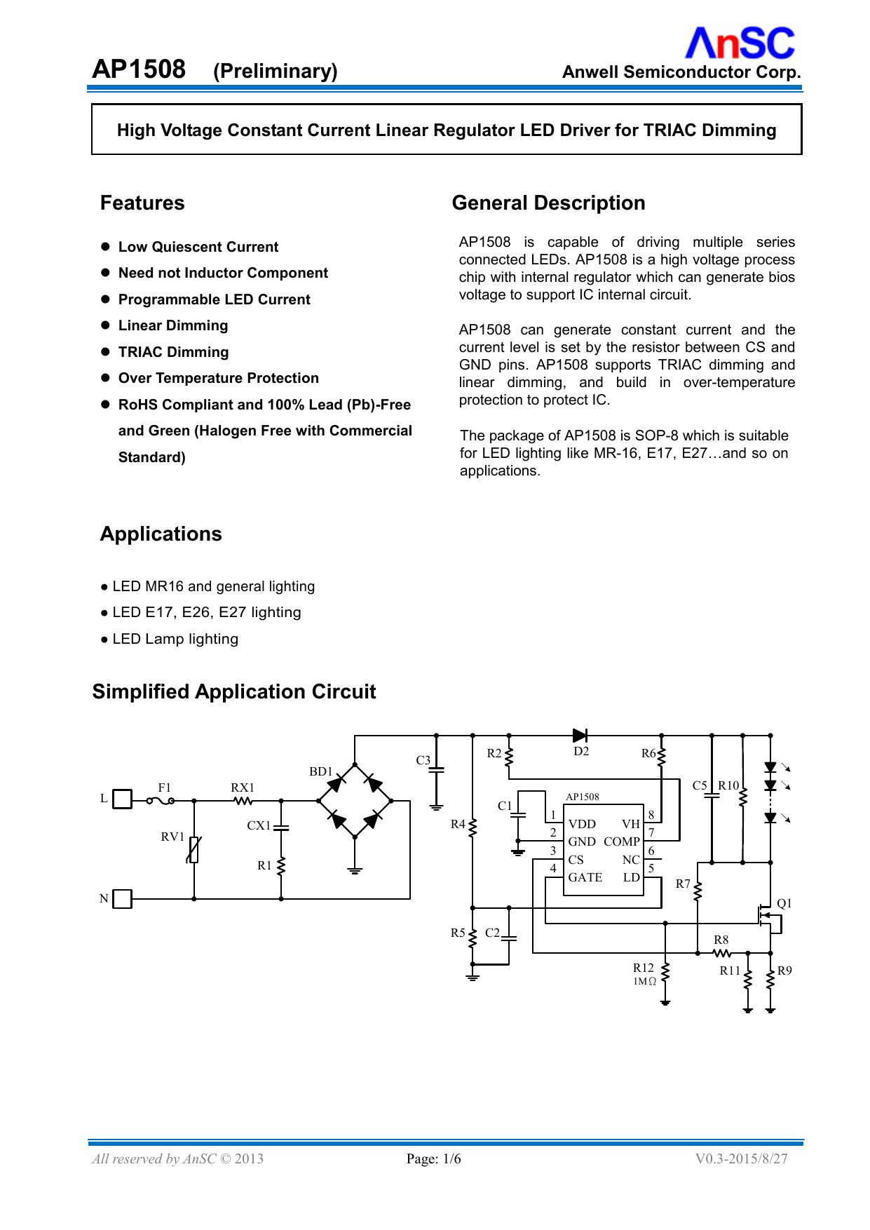 Ap1508 Preliminary Features General Description Applications Triac Dimmer Circuit Diagram On High Power Led Driver