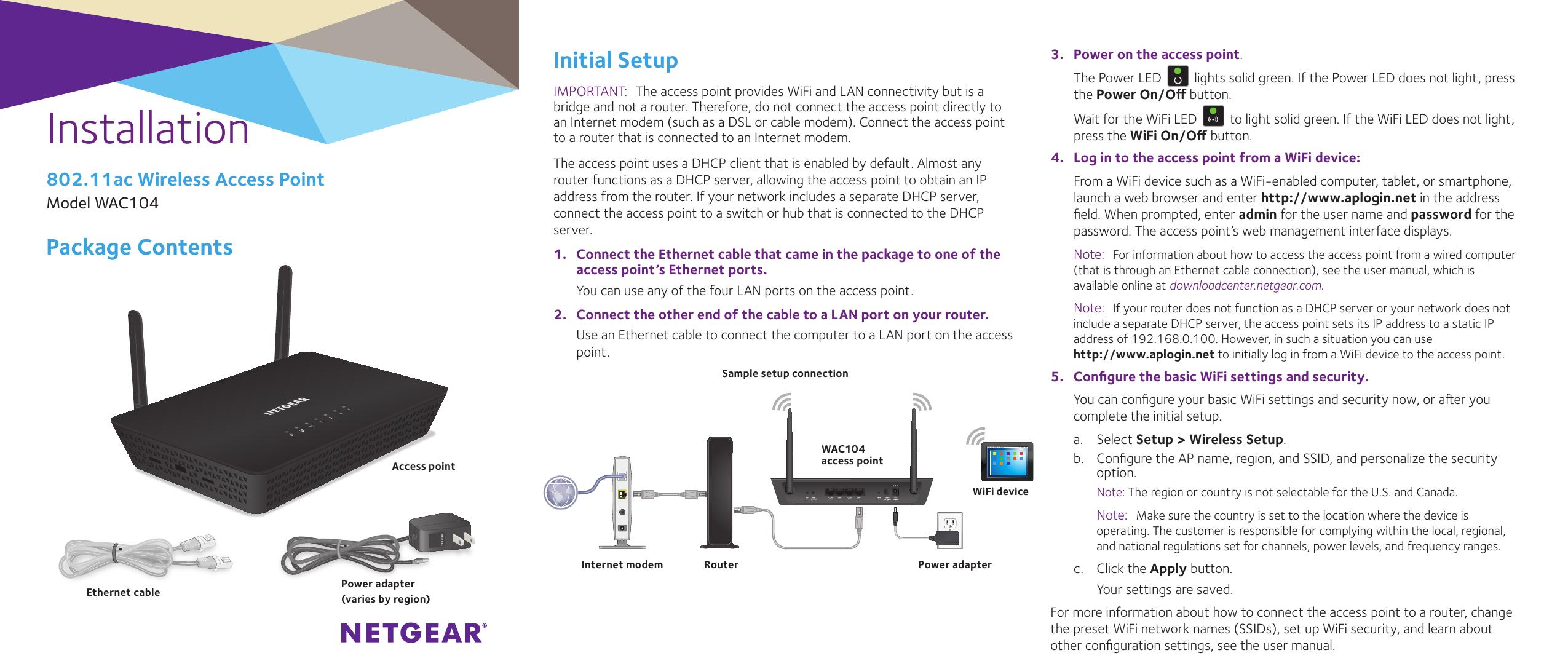NETGEAR 802 11ac Wireless Access Point Model WAC104