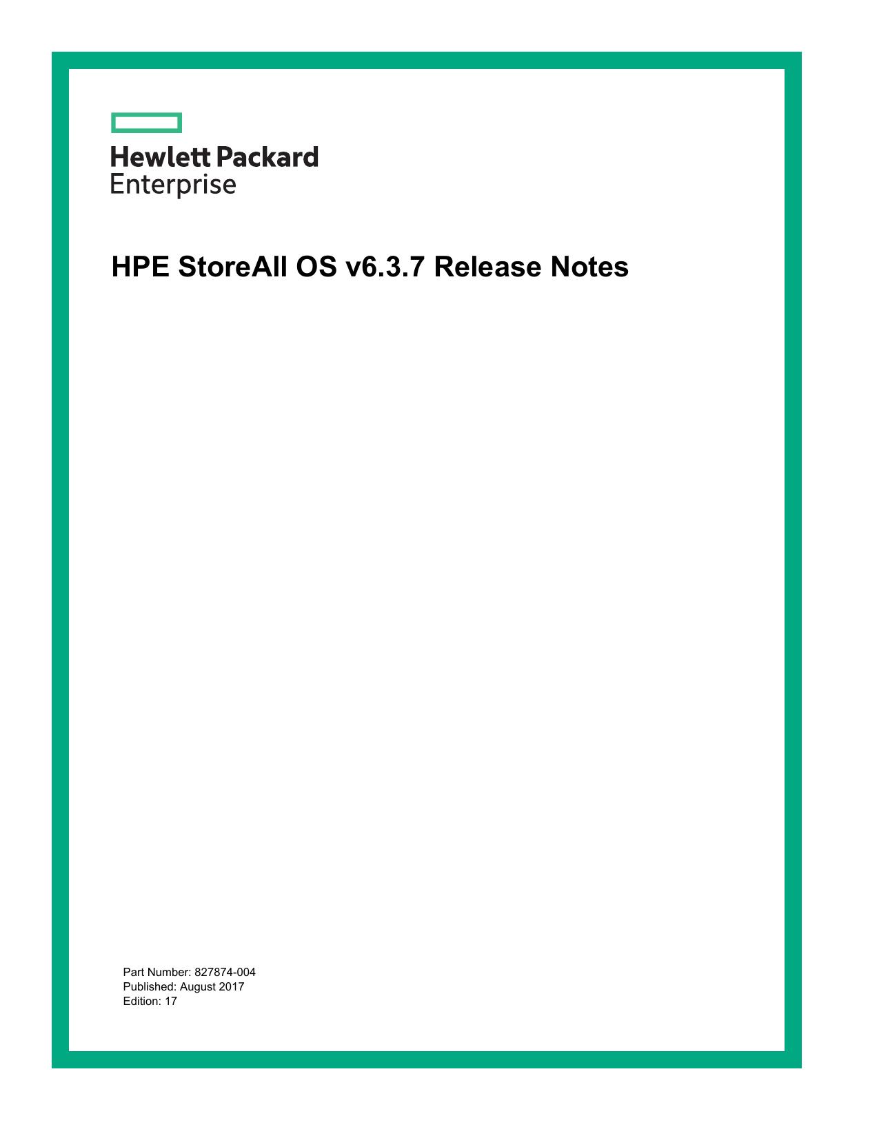 HPE StoreAll OS v6 3 6 Release Notes | manualzz com