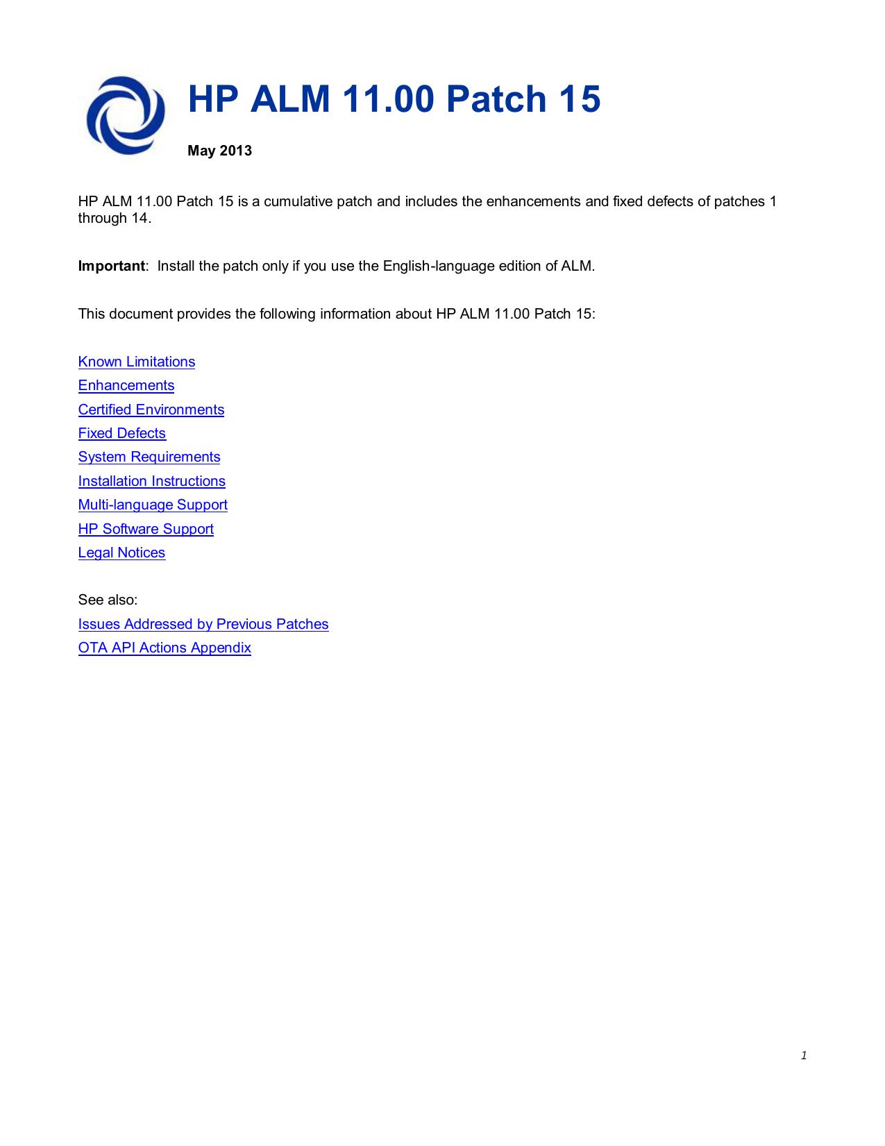 HP ALM 11 00 Patch 15 - SAP Service Marketplace | manualzz com
