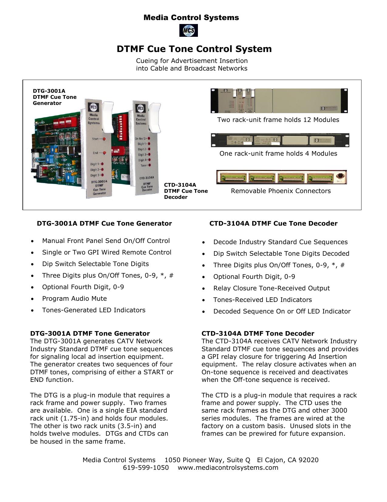 DTMF Cue Tone Control System | manualzz com