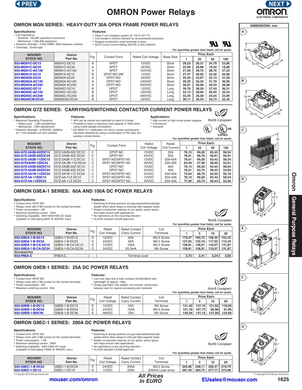 OMRON Power Relays - Mouser Electronics | manualzz com