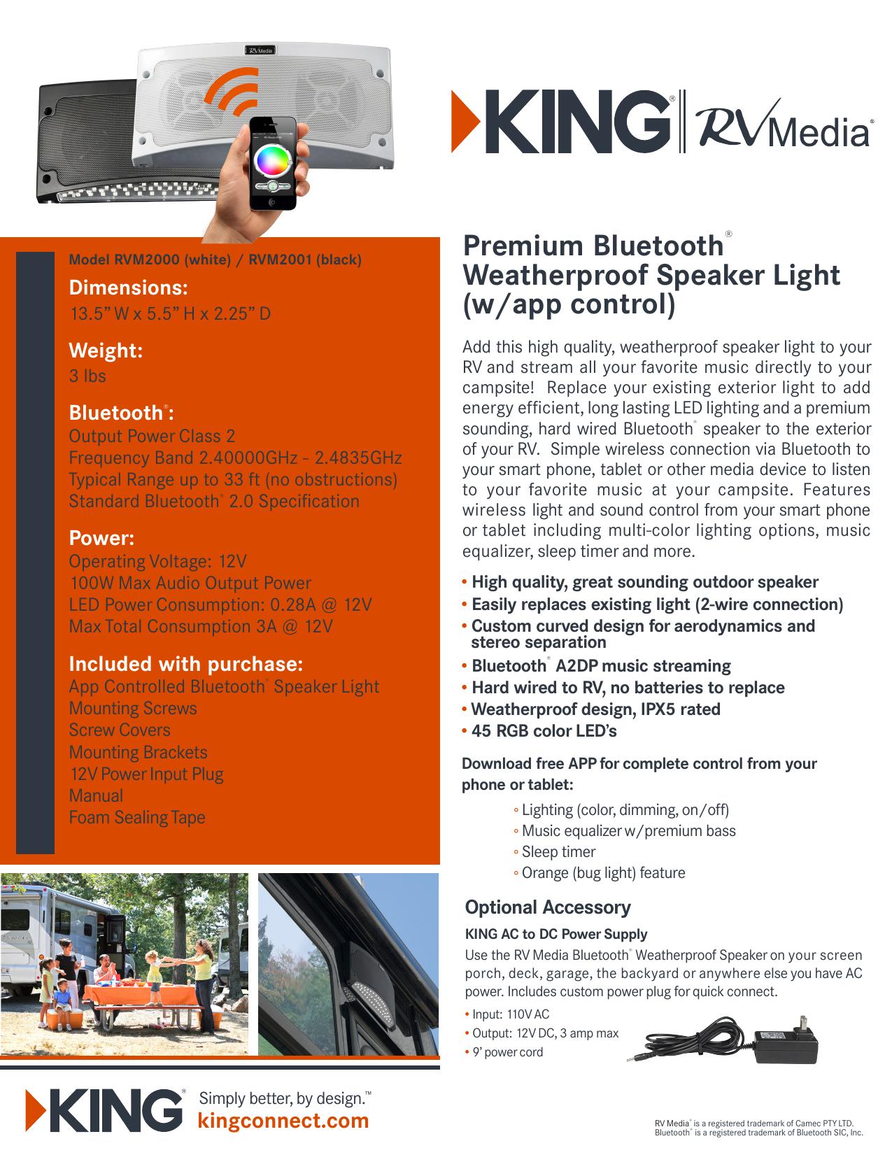 Premium Bluetooth® Weatherproof Speaker Light | manualzz com