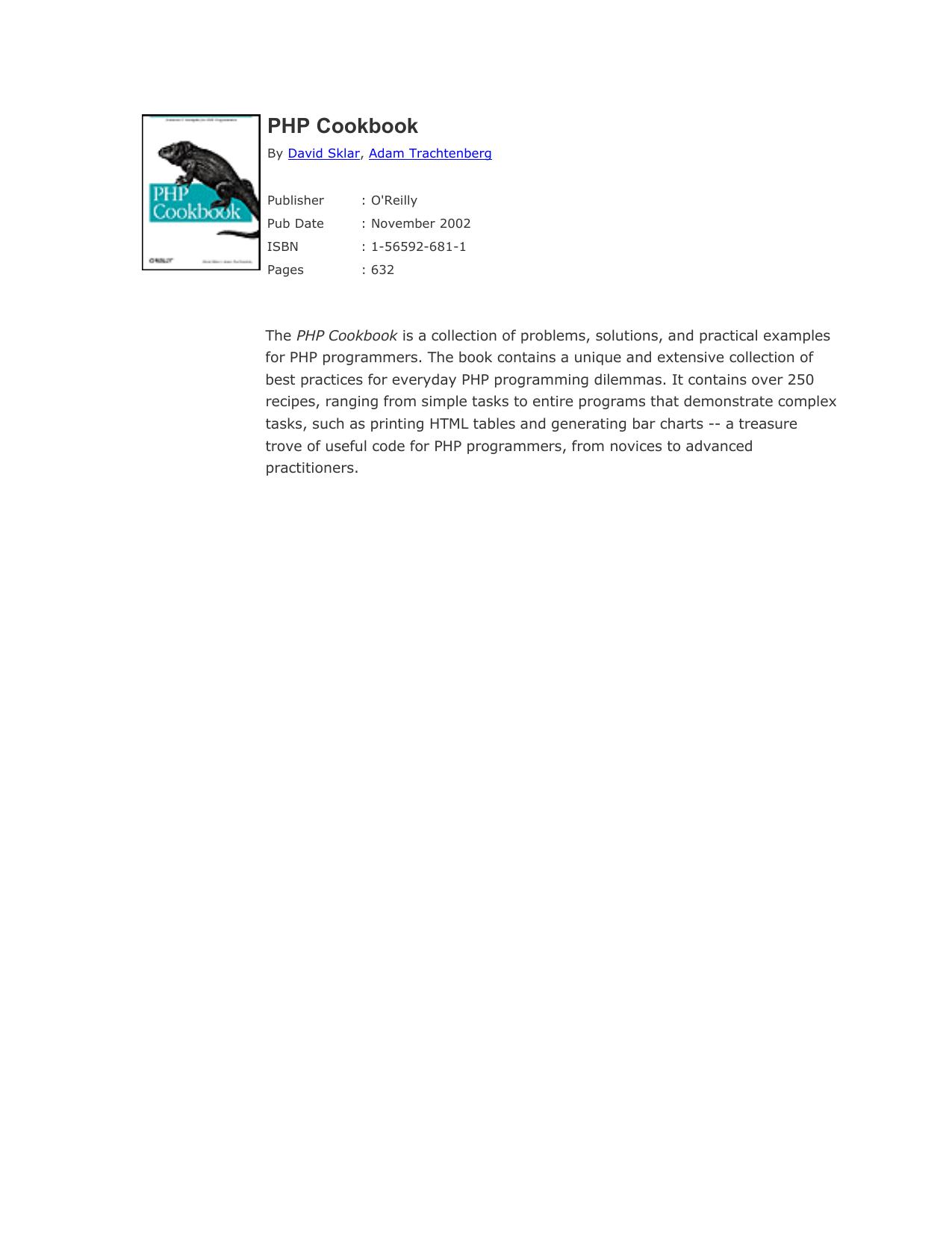 PHP Cookbook | manualzz com