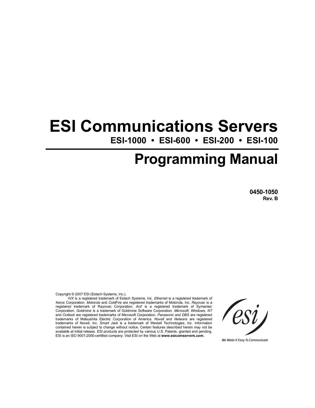 ESI Communications Servers Programming Manual   manualzz com