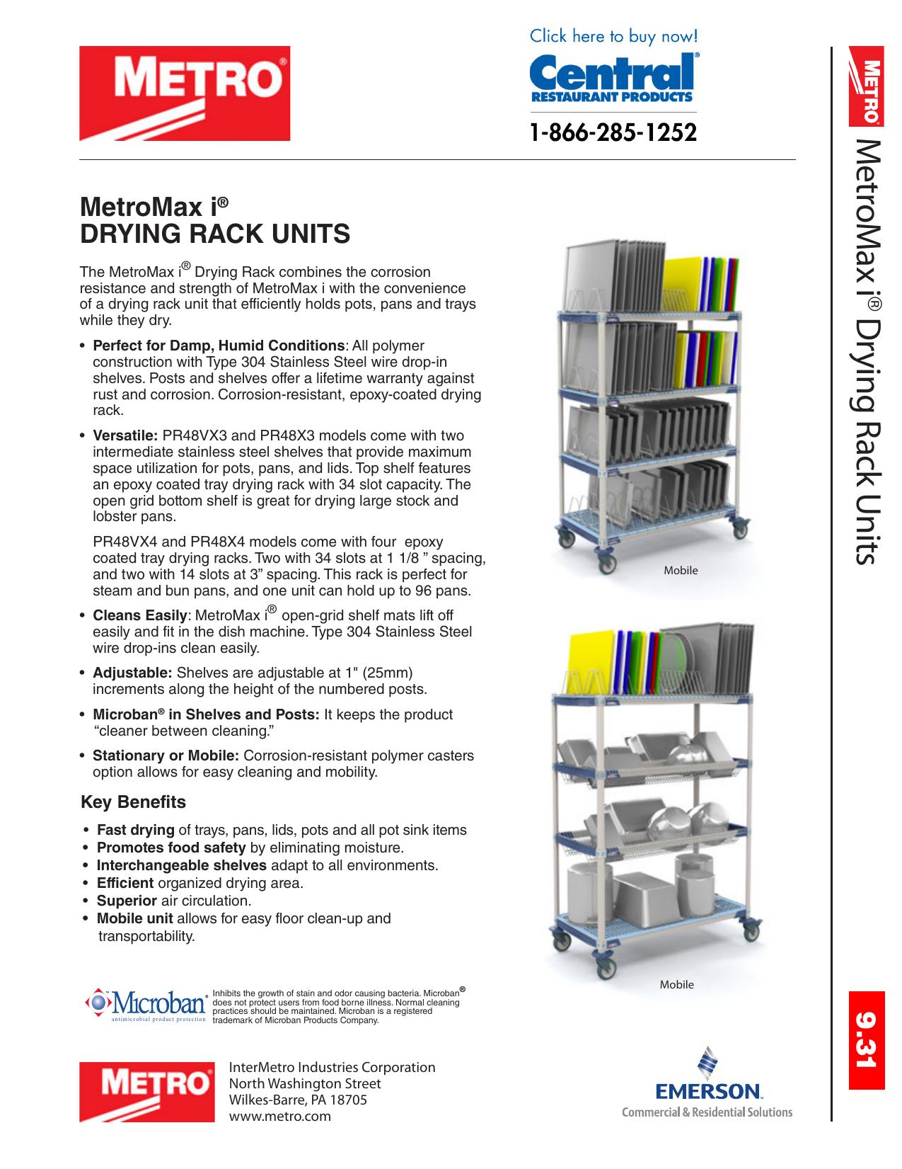 Metro Metromax I Drying Rack Units And Shelves Spec Sheet