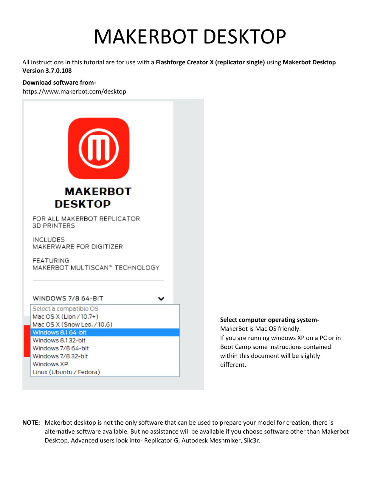 MAKERBOT DESKTOP | manualzz com