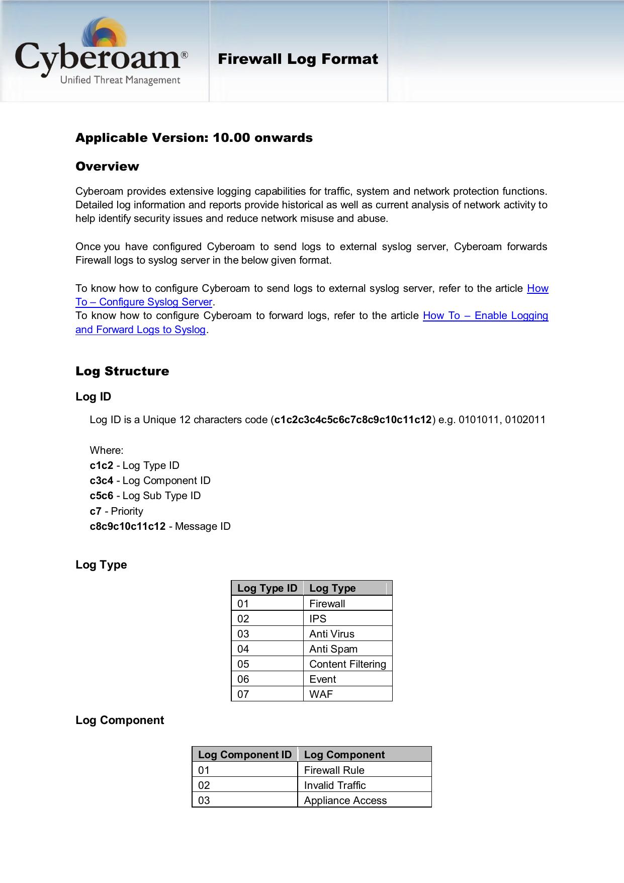 Firewall Log Format | manualzz com