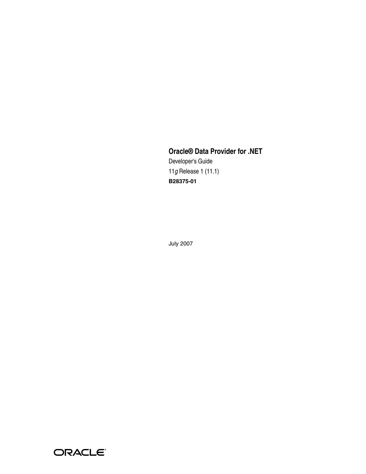 Oracle Data Provider for  NET Developer`s Guide | manualzz com