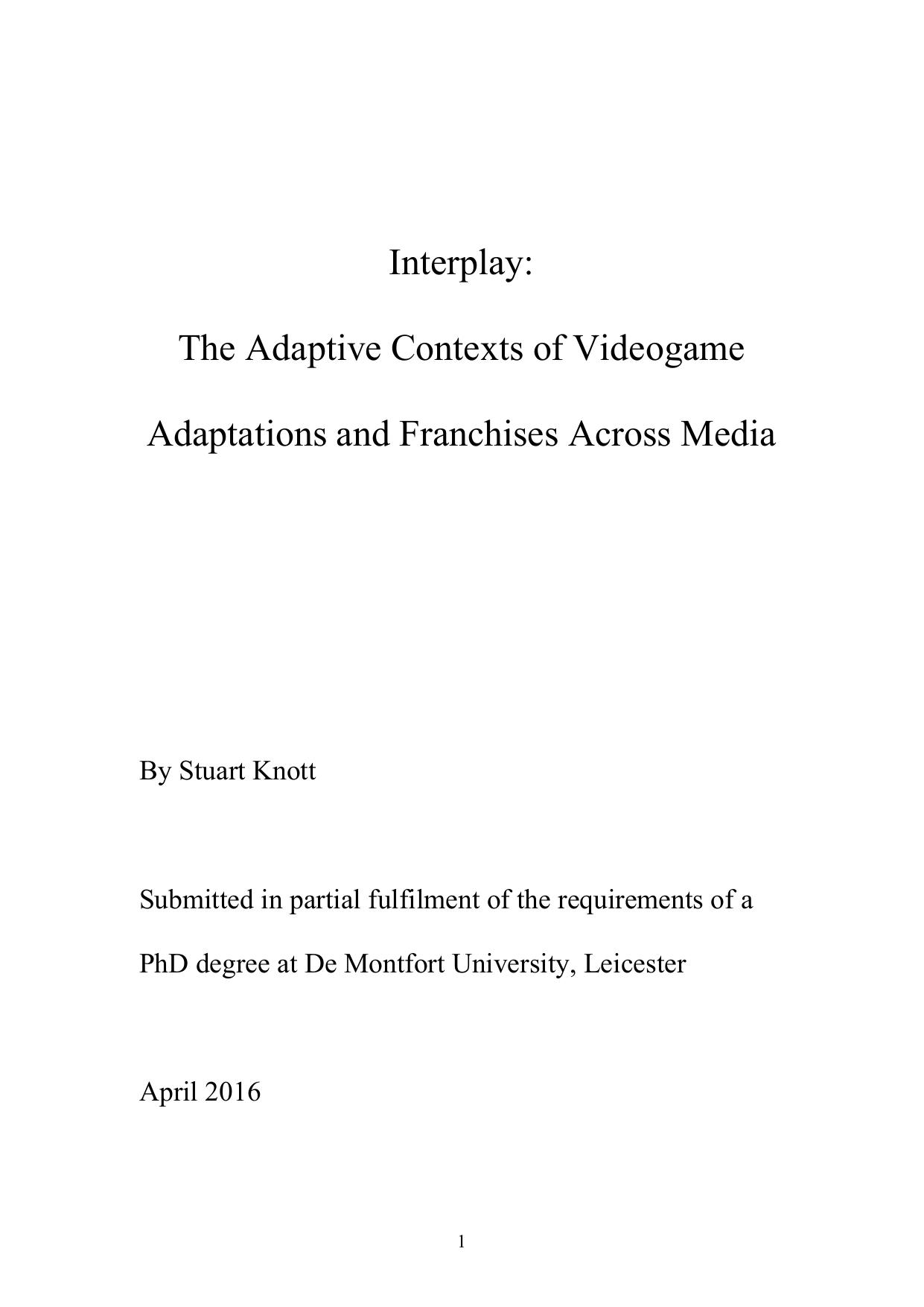 Interplay: The Adaptive Contexts of Videogame | manualzz com