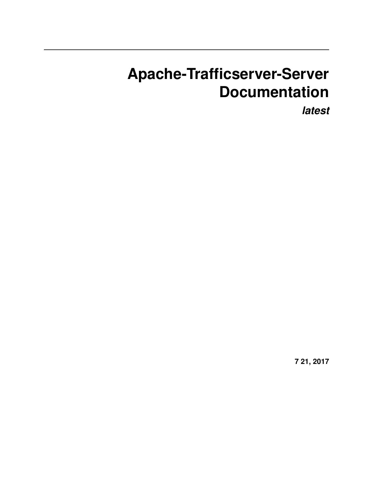 Apache-Trafficserver-Server Documentation | manualzz com