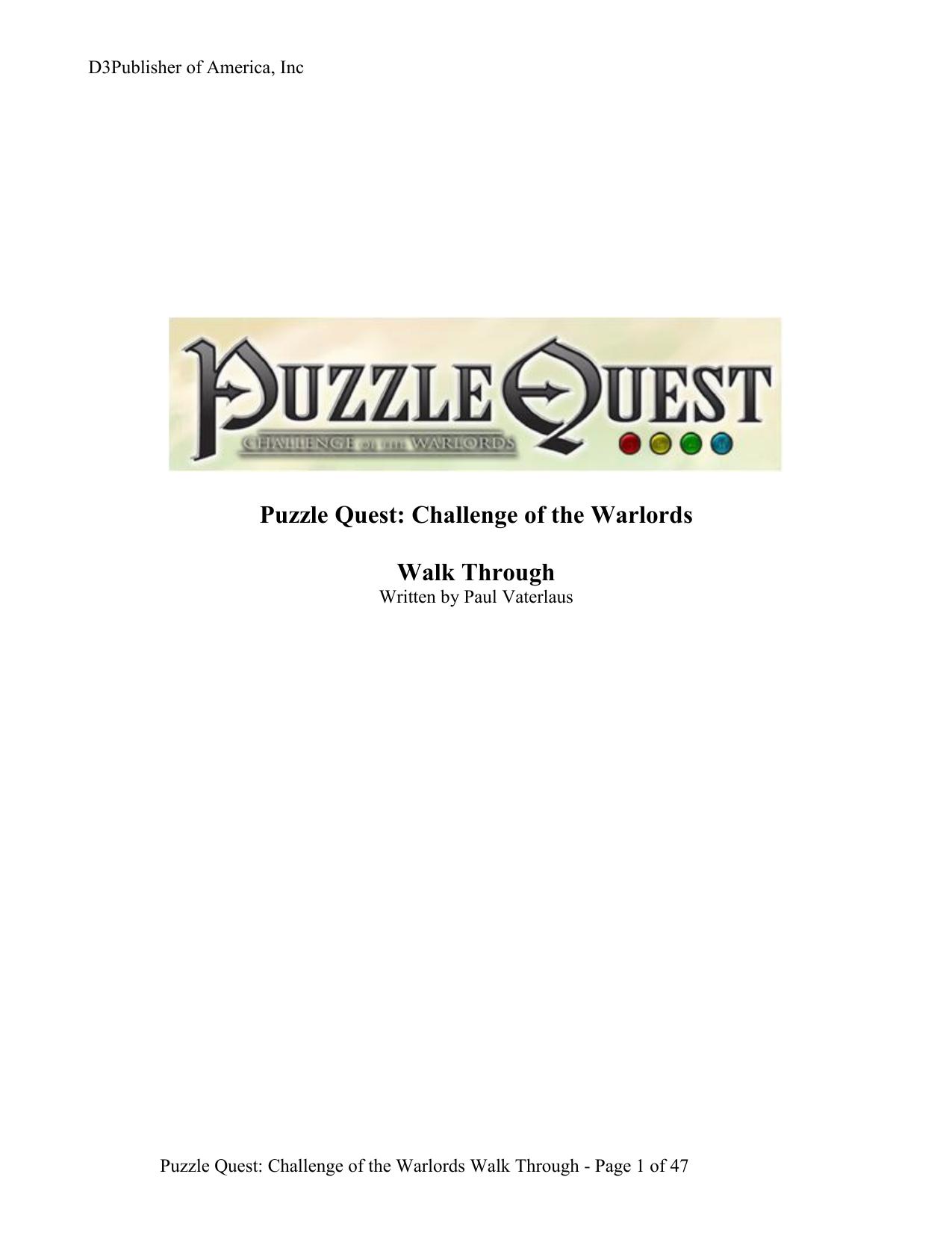 Puzzle Quest – Walk Through   manualzz com