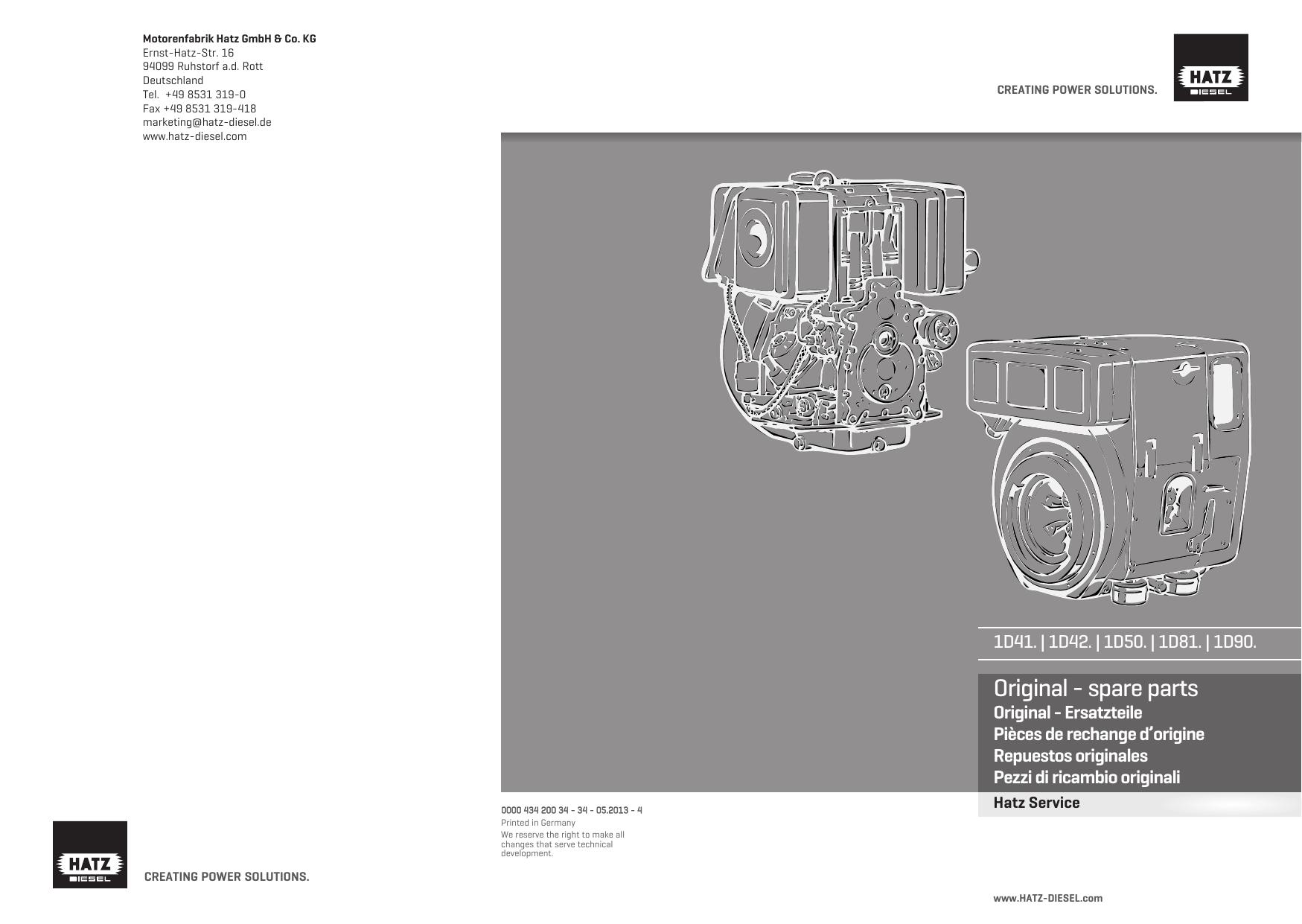 Original Spare Parts Hatz Engine Diagram
