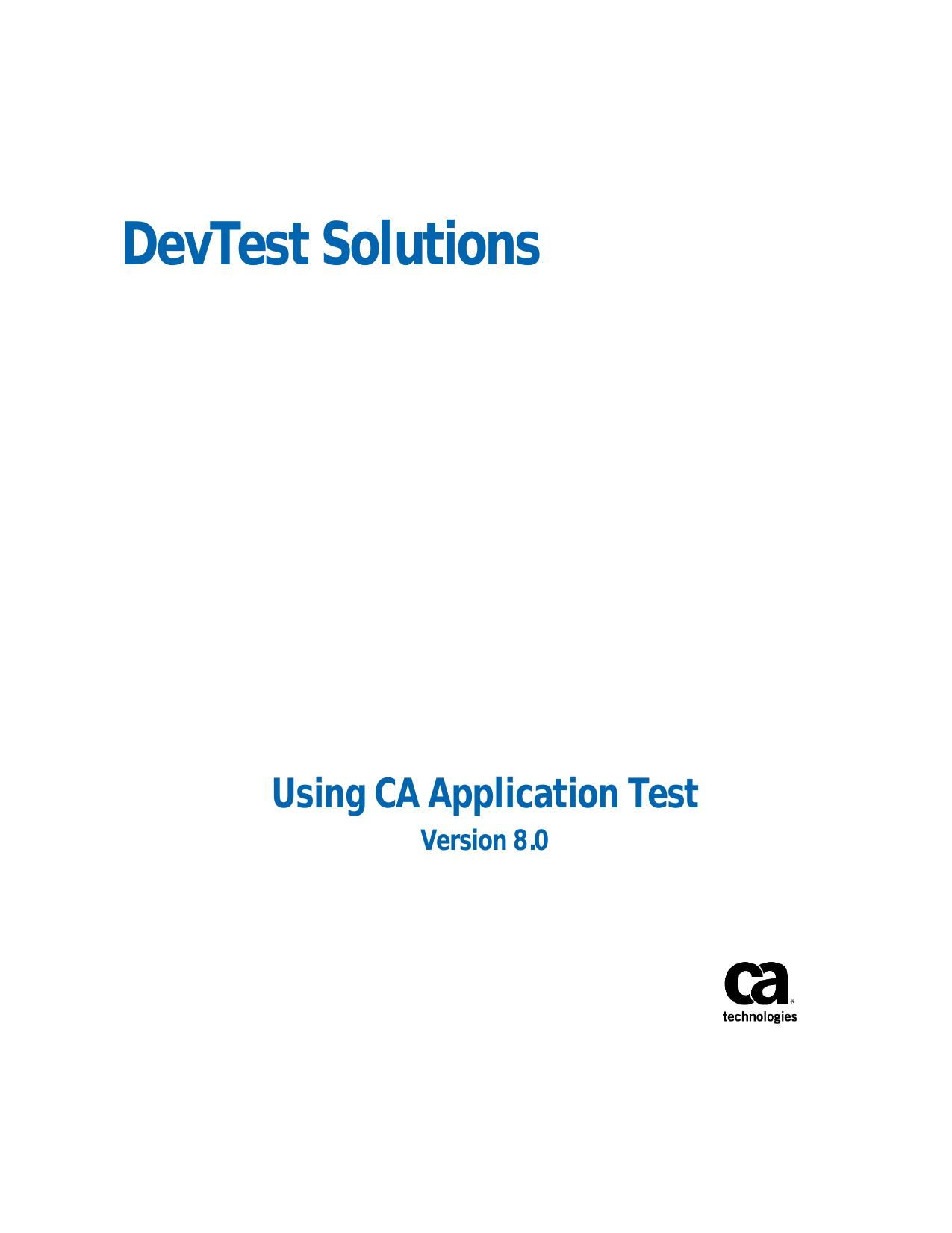 DevTest Solutions Using CA Application Test | manualzz com