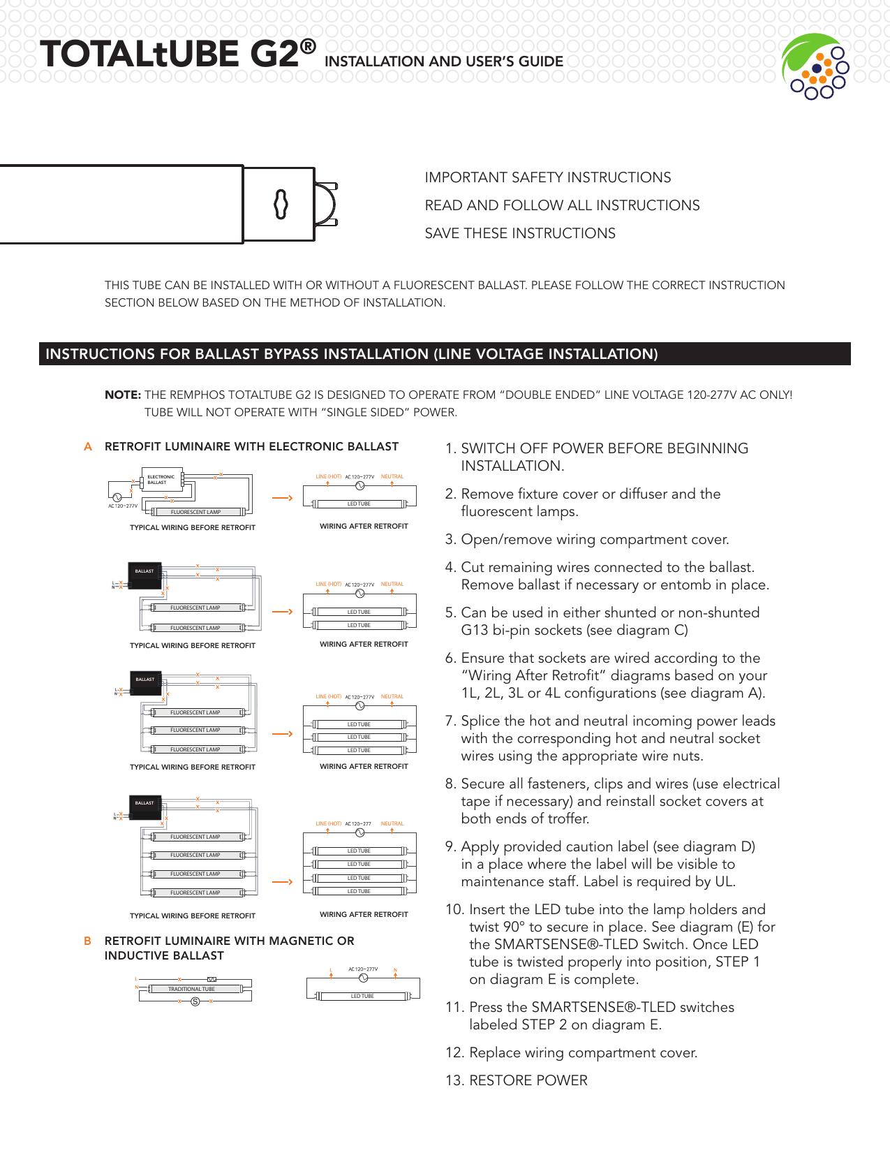 fluorescent lights wiring diagram 5 wire totaltube g2 installguide indd manualzz  totaltube g2 installguide indd manualzz