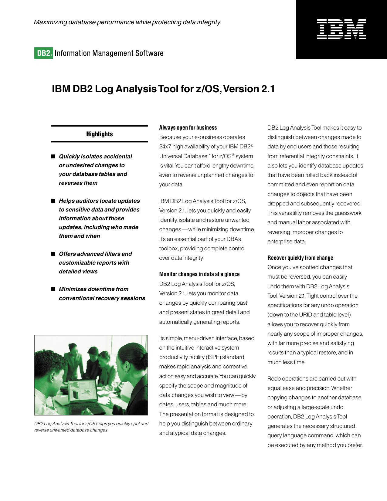 IBM DB2 Log Analysis Tool for z/OS, Version 2 1 | manualzz com