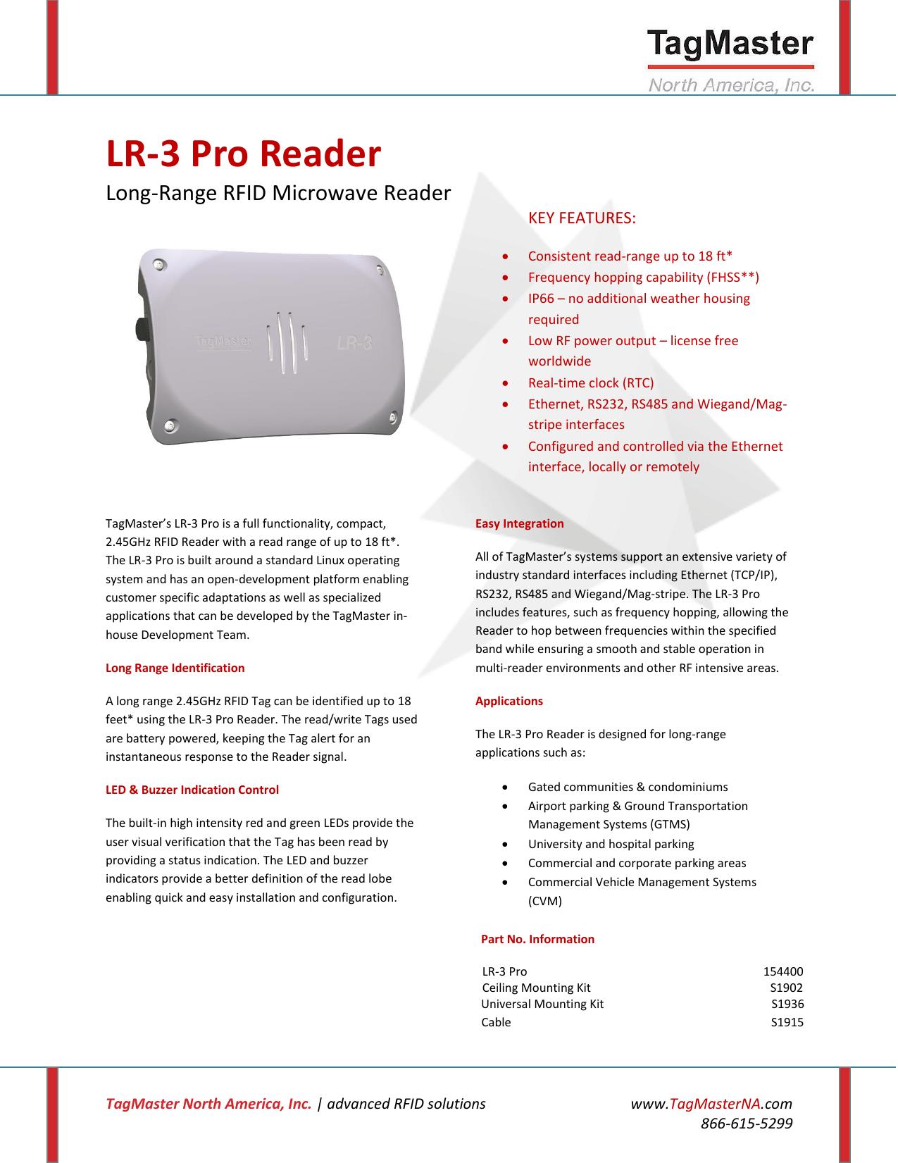 LR-3 Pro Reader - TagMaster North America | manualzz com