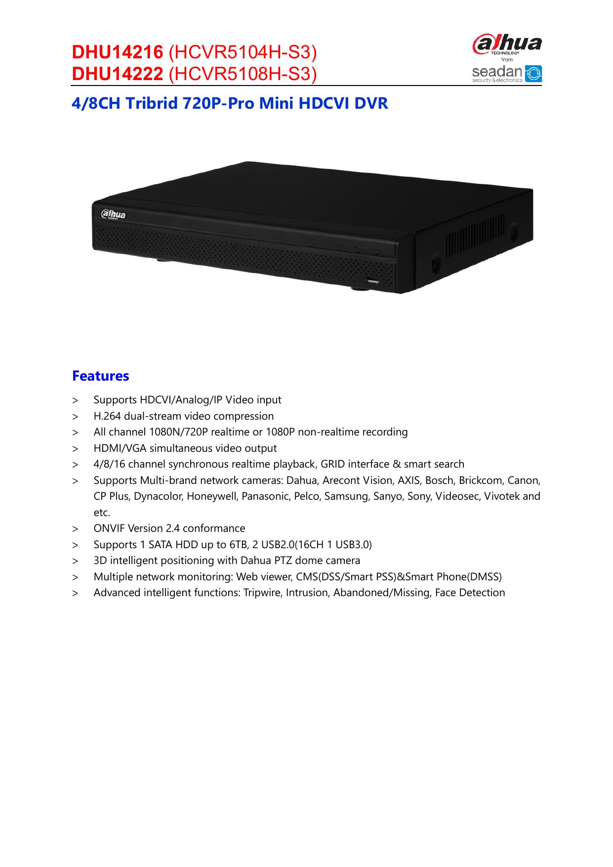 HD-CVI Tribrid Dahua 16CH DVR 1080P//960H//IP 1080P HCVR5116H-S3 NO HDD