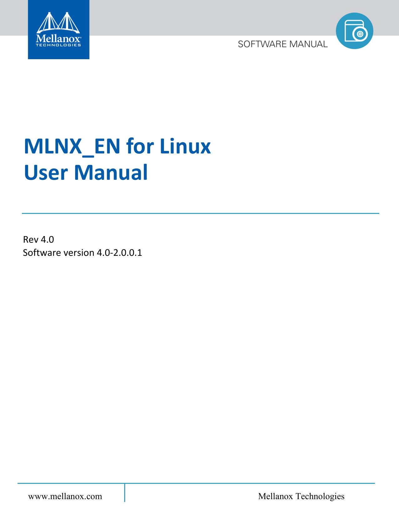 Mellanox EN Linux User`s Manual | manualzz com