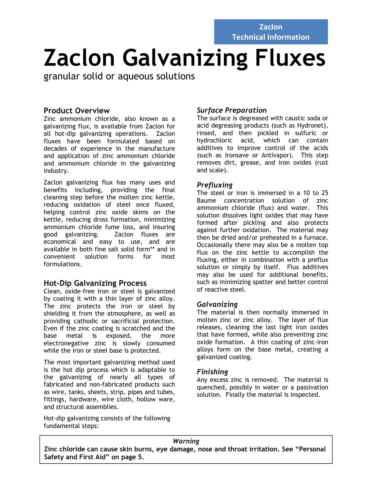 Zaclon Galvanizing Fluxes Datasheet | manualzz com