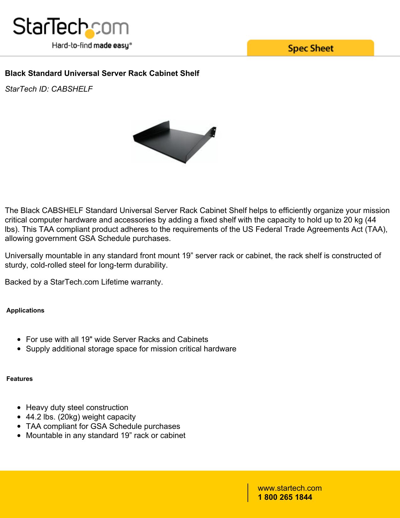 Black Standard Universal Server Rack Cabinet Shelf Startech