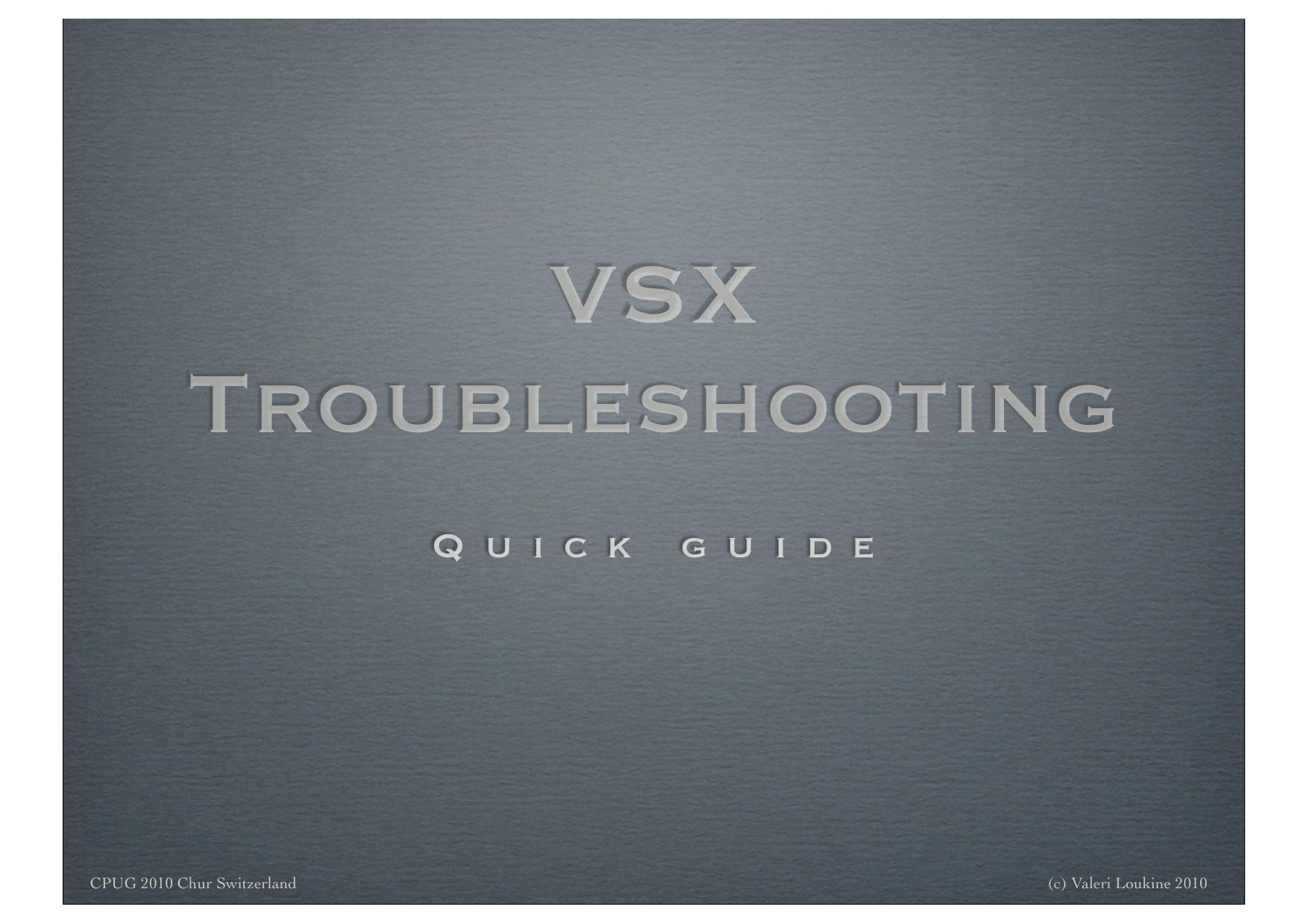 VSX Troobleshooting | manualzz com