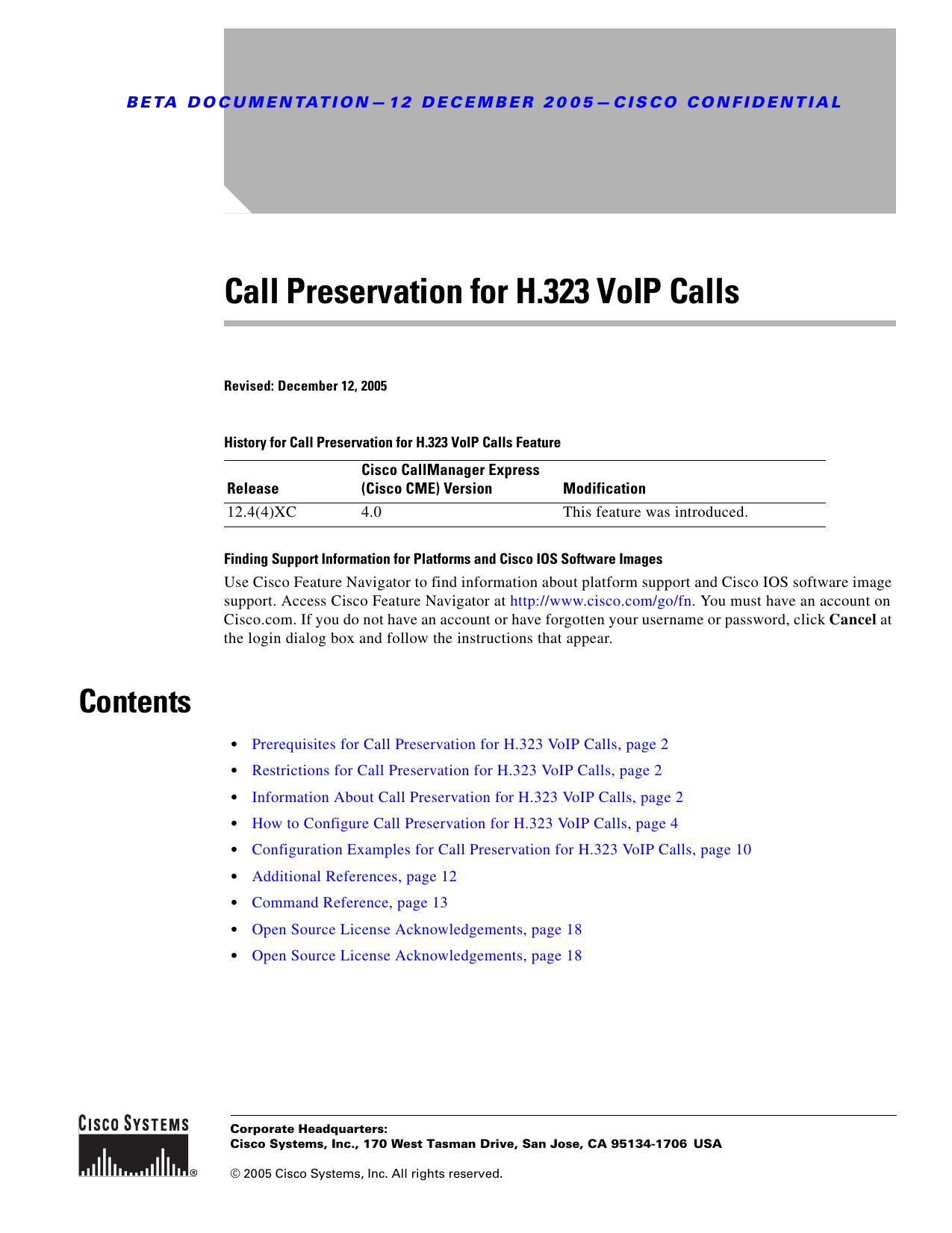 Call Preservation for H 323 VoIP Calls | manualzz com
