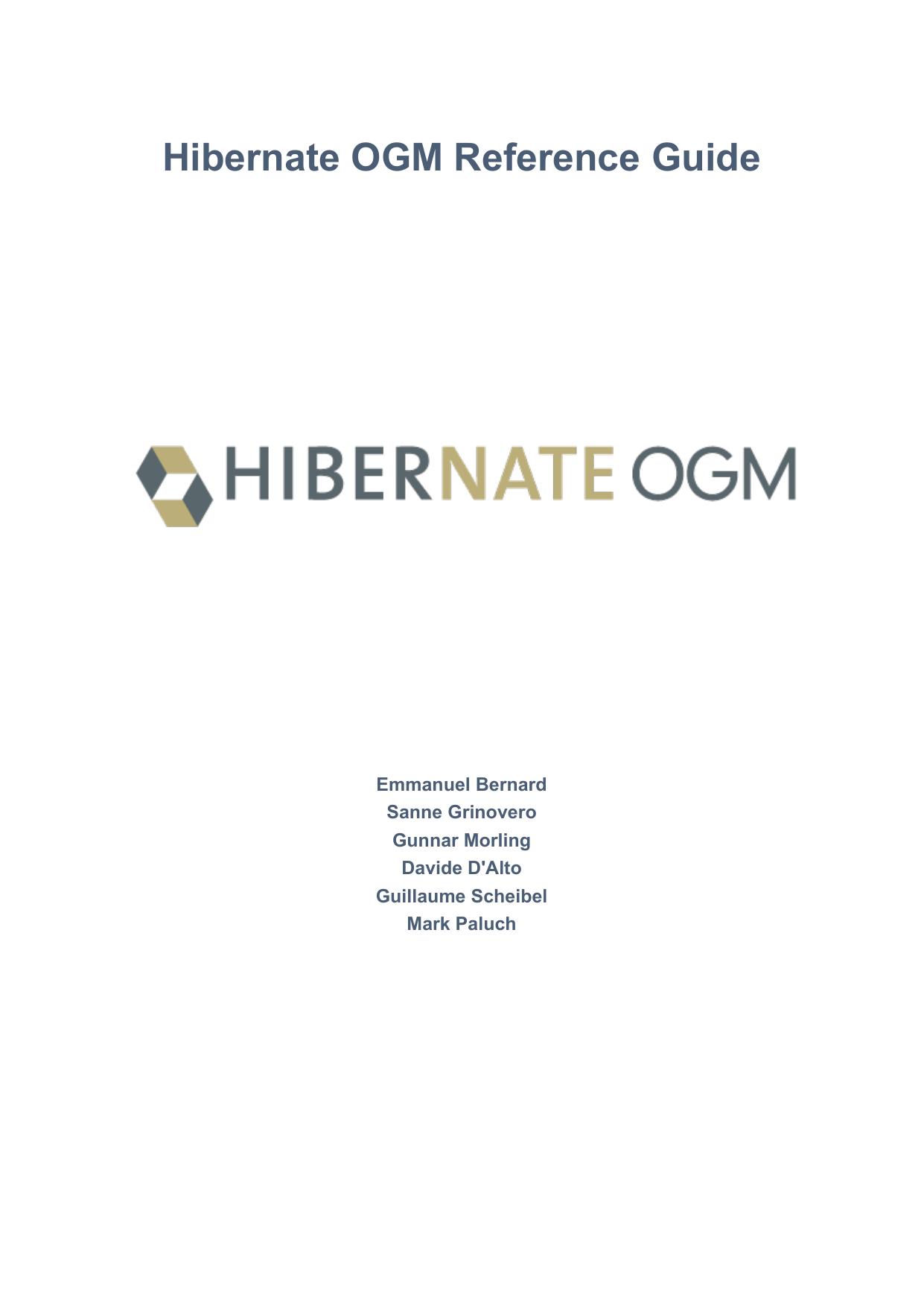 Hibernate OGM Reference Guide | manualzz com
