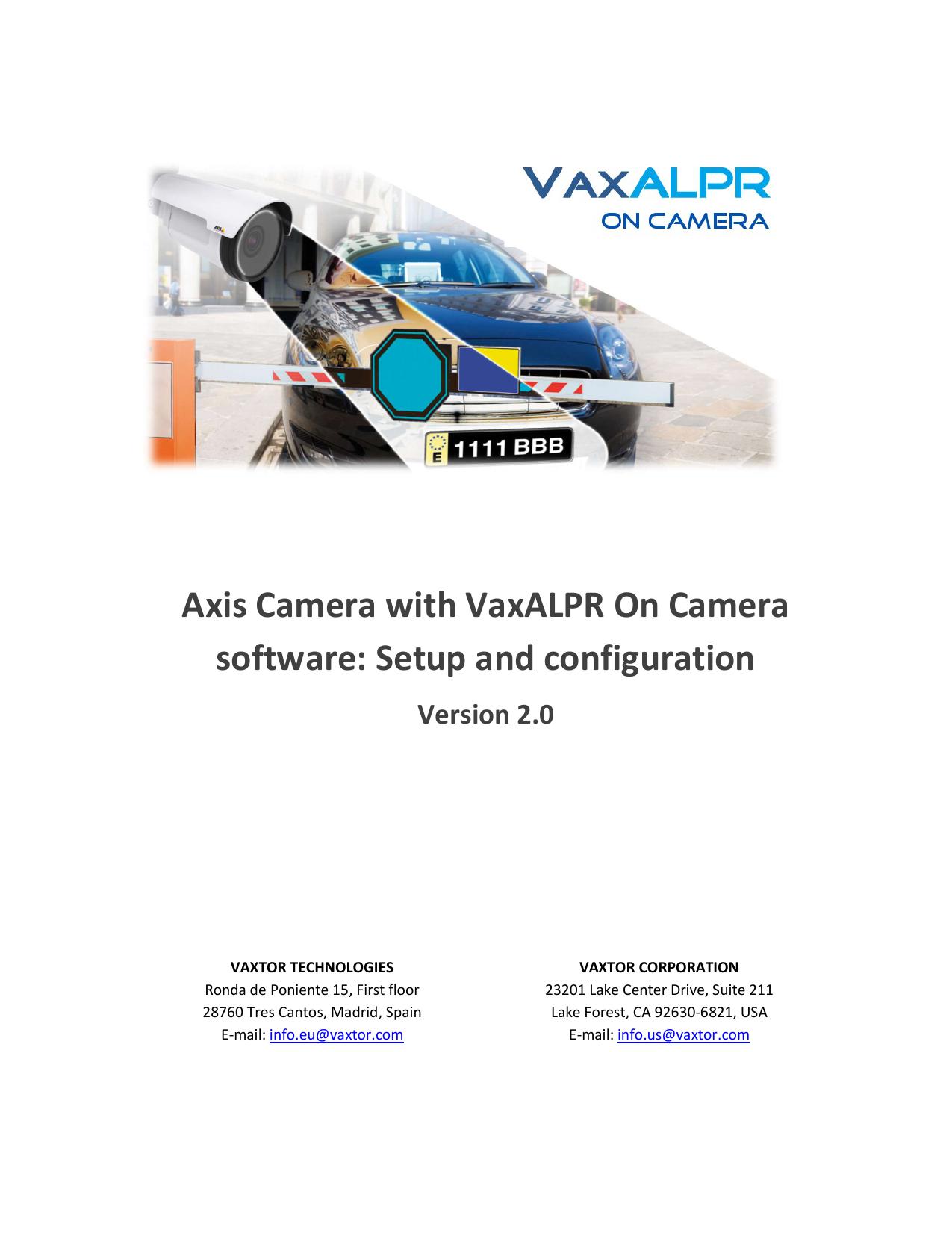 Axis Camera with VaxALPR On Camera software: Setup | manualzz com