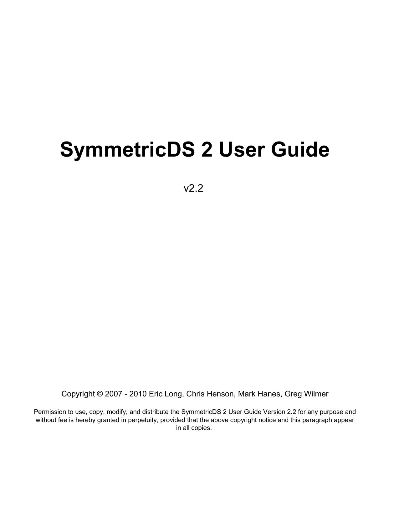 SymmetricDS 2 User Guide | manualzz com
