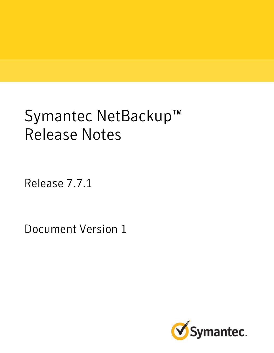 Symantec NetBackup™ Release Notes | manualzz com